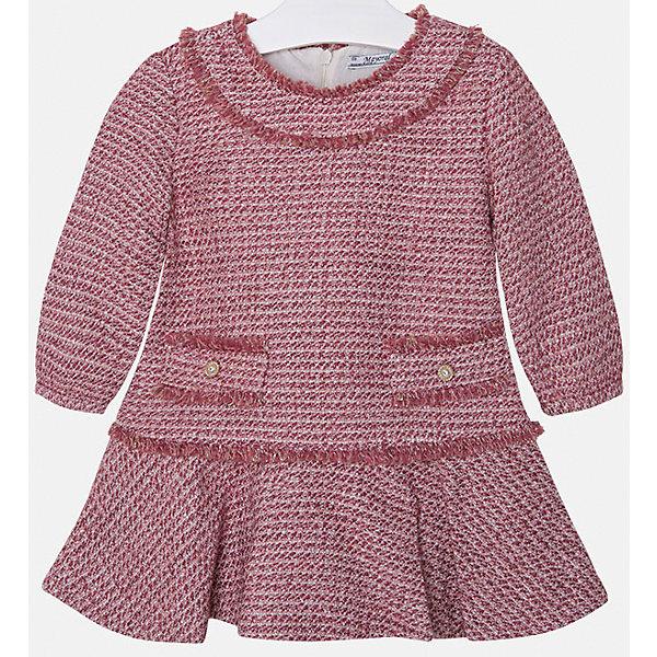 Платье для девочки MayoralПлатья и сарафаны<br>Платье для девочки от известного испанского бренда Mayoral(Майорал). Модель изготовлена из дышащих материалов высокого качества. Спереди платье украшено двумя декоративными карманами, застегивается на молнию сзади. Стильное гармоничное платье - прекрасный вариант на каждый день!<br>Дополнительная информация:<br>-застегивается на молнию сзади<br>-2 декоративных кармана спереди<br>-цвет: красный<br>-состав. 32% акрил, 25% хлопок, 22% шерсть, 16% полиэстер, 5% металлическое волокно; подкладка: 50% хлопок, 50% полиэстер<br>Платье Mayoral(Майорал) вы можете приобрести в нашем интернет-магазине.<br><br>Ширина мм: 236<br>Глубина мм: 16<br>Высота мм: 184<br>Вес г: 177<br>Цвет: розовый<br>Возраст от месяцев: 18<br>Возраст до месяцев: 24<br>Пол: Женский<br>Возраст: Детский<br>Размер: 92,134,122,98,116,104,110,128<br>SKU: 4844468