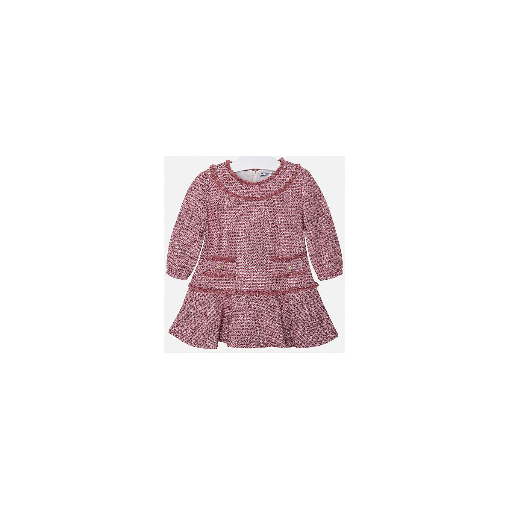 Платье для девочки MayoralПлатья и сарафаны<br>Платье для девочки от известного испанского бренда Mayoral(Майорал). Модель изготовлена из дышащих материалов высокого качества. Спереди платье украшено двумя декоративными карманами, застегивается на молнию сзади. Стильное гармоничное платье - прекрасный вариант на каждый день!<br>Дополнительная информация:<br>-застегивается на молнию сзади<br>-2 декоративных кармана спереди<br>-цвет: красный<br>-состав. 32% акрил, 25% хлопок, 22% шерсть, 16% полиэстер, 5% металлическое волокно; подкладка: 50% хлопок, 50% полиэстер<br>Платье Mayoral(Майорал) вы можете приобрести в нашем интернет-магазине.<br><br>Ширина мм: 236<br>Глубина мм: 16<br>Высота мм: 184<br>Вес г: 177<br>Цвет: розовый<br>Возраст от месяцев: 18<br>Возраст до месяцев: 24<br>Пол: Женский<br>Возраст: Детский<br>Размер: 92,134,128,110,98,122,104,116<br>SKU: 4844468