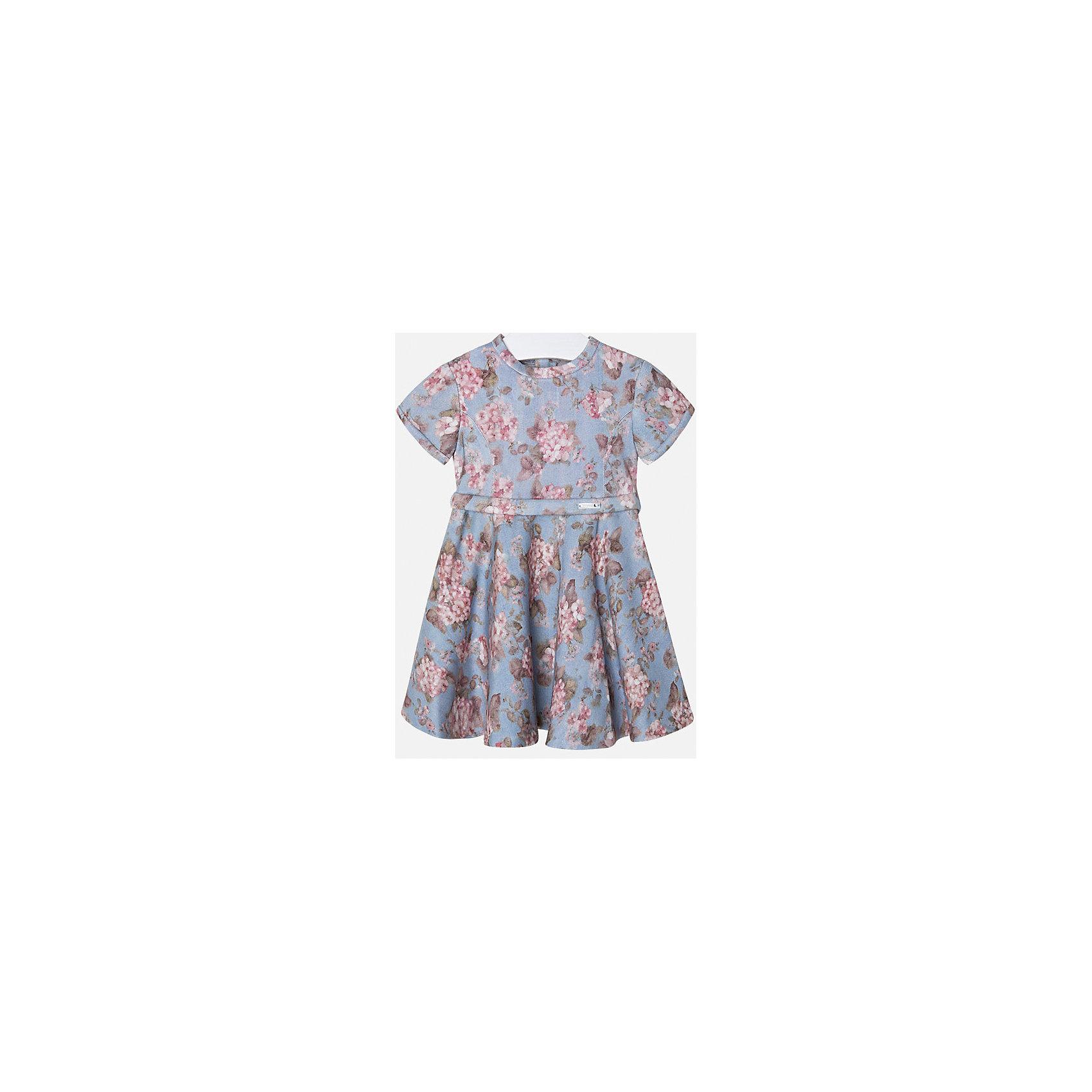 Платье для девочки MayoralОдежда<br>Нарядное платье Mayoral в цветочек отлично подойдет для любого торжества. Выполнено из мягкой ткани, приятной на ощупь. Платье с коротким рукавом, пышной юбкой и приталенным пояском. Сзади застегивается на молнию.<br><br>Дополнительная информация: <br><br>- цвет: голубой<br>- состав: 68 % вискоза, 30 % полиэстер, 2 % эластана<br>- вырез горловины: округлый<br>- длина рукава: короткий<br>- вид застежки:  застежка сзади<br>- покрой: прямой<br>- фактура материала: трикотажный<br>- тип карманов: без карманов<br>- уход за вещами: бережная стирка при 30 градусах<br>- назначение: повседневная<br>- конструктивные элементы: без разреза<br>- пол: девочки<br>- страна бренда: Испания<br>- страна производитель: Китай<br>- комплектация: платье<br><br>Платье для девочки торговой марки Mayoral можно купить в нашем интернет-магазине.<br><br>Ширина мм: 236<br>Глубина мм: 16<br>Высота мм: 184<br>Вес г: 177<br>Цвет: синий<br>Возраст от месяцев: 96<br>Возраст до месяцев: 108<br>Пол: Женский<br>Возраст: Детский<br>Размер: 128,110,122,134,98,116,104<br>SKU: 4844477