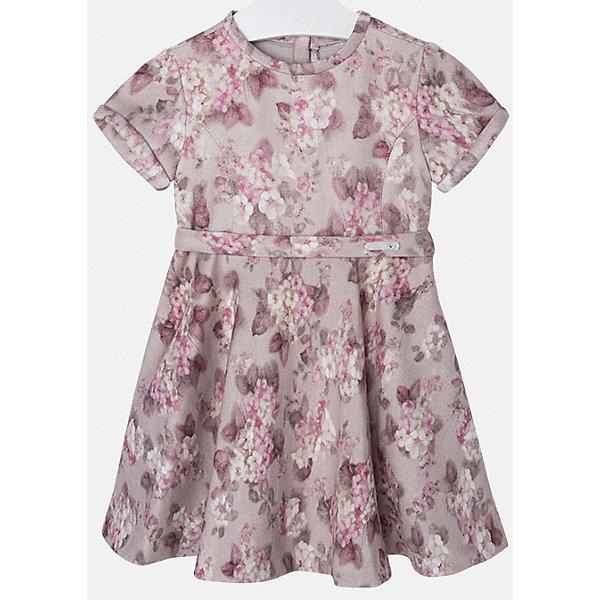 Платье для девочки MayoralОдежда<br>Нарядное платье торговой марки Mayoral в цветочек отлично подойдет для любого торжества. Выполнено из мягкой ткани, приятной на ощупь. Платье с коротким рукавом, пышной юбкой и приталенным пояском. Сзади застегивается на молнию.<br><br>Дополнительная информация: <br><br>- цвет: темно-серый<br>- состав: 68 % вискоза, 30 % полиэстер, 2 % эластана<br>- вырез горловины: округлый<br>- длина рукава: короткий<br>- вид застежки:  застежка сзади<br>- покрой: прямой<br>- фактура материала: трикотажный<br>- тип карманов: без карманов<br>- уход за вещами: бережная стирка при 30 градусах<br>- назначение: повседневная<br>- конструктивные элементы: без разреза<br>- пол: девочки<br>- страна бренда: Испания<br>- страна производитель: Китай<br>- комплектация: платье<br><br>Платье для девочки торговой марки Mayoral можно купить в нашем интернет-магазине.<br>Ширина мм: 236; Глубина мм: 16; Высота мм: 184; Вес г: 177; Цвет: серый; Возраст от месяцев: 72; Возраст до месяцев: 84; Пол: Женский; Возраст: Детский; Размер: 122,98,134,104,128,110,116; SKU: 4844485;
