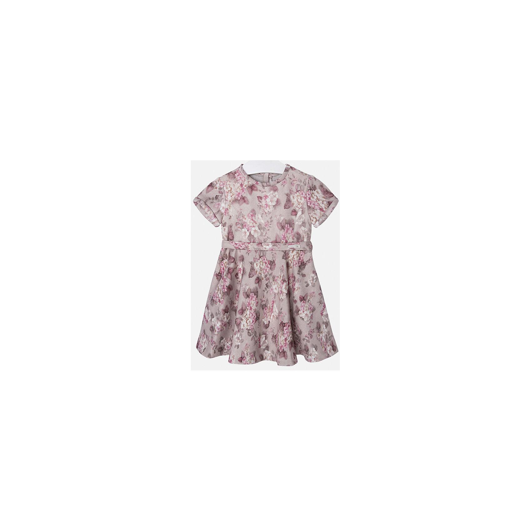 Платье для девочки MayoralОдежда<br>Нарядное платье торговой марки Mayoral в цветочек отлично подойдет для любого торжества. Выполнено из мягкой ткани, приятной на ощупь. Платье с коротким рукавом, пышной юбкой и приталенным пояском. Сзади застегивается на молнию.<br><br>Дополнительная информация: <br><br>- цвет: темно-серый<br>- состав: 68 % вискоза, 30 % полиэстер, 2 % эластана<br>- вырез горловины: округлый<br>- длина рукава: короткий<br>- вид застежки:  застежка сзади<br>- покрой: прямой<br>- фактура материала: трикотажный<br>- тип карманов: без карманов<br>- уход за вещами: бережная стирка при 30 градусах<br>- назначение: повседневная<br>- конструктивные элементы: без разреза<br>- пол: девочки<br>- страна бренда: Испания<br>- страна производитель: Китай<br>- комплектация: платье<br><br>Платье для девочки торговой марки Mayoral можно купить в нашем интернет-магазине.<br><br>Ширина мм: 236<br>Глубина мм: 16<br>Высота мм: 184<br>Вес г: 177<br>Цвет: серый<br>Возраст от месяцев: 48<br>Возраст до месяцев: 60<br>Пол: Женский<br>Возраст: Детский<br>Размер: 110,134,98,122,116,128,104<br>SKU: 4844485