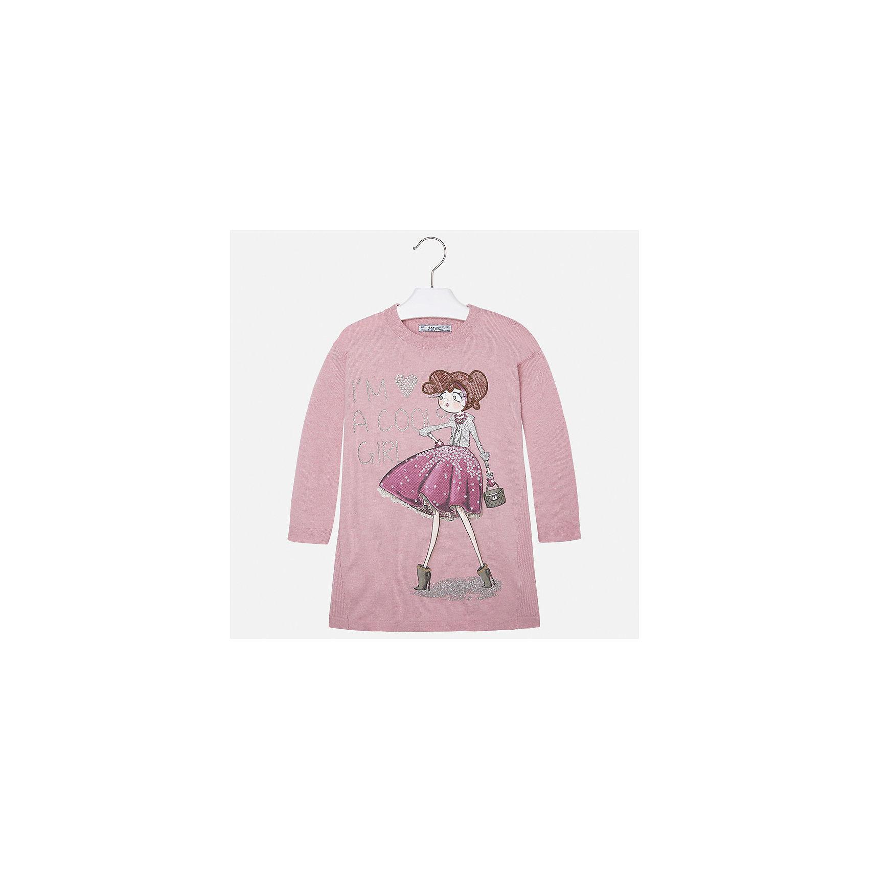 Платье для девочки MayoralОсенне-зимние платья и сарафаны<br>Платье для девочки от известного испанского бренда Mayoral (Майорал). Это модное и удобное платье с длинным рукавом сочетает в себе стиль и простоту. Приятный бледно-розовый цвет и яркий фото-принт украшенный стразами придут по вкусу вашей моднице. У платья свободный крой, слегка расширяющийся к низу. Отличное пополнение для сезона осень-зима. К этому платью подойдут как классические колготки, так и современные укороченные леггинсы.<br><br>Дополнительная информация:<br><br>- Силуэт: прямой<br>- Рукав: укороченный<br>- Длина: средняя<br><br>Состав: 50% хлопок, 50% акрил<br><br>Платье для девочки Mayoral (Майорал) можно купить в нашем интернет-магазине.<br><br>Подробнее:<br>• Для детей в возрасте: от 2 до 9 лет<br>• Номер товара: 4844511<br>Страна производитель: Индия<br><br>Ширина мм: 236<br>Глубина мм: 16<br>Высота мм: 184<br>Вес г: 177<br>Цвет: розовый<br>Возраст от месяцев: 18<br>Возраст до месяцев: 24<br>Пол: Женский<br>Возраст: Детский<br>Размер: 92,104,98,116,134,128,110,122<br>SKU: 4844511