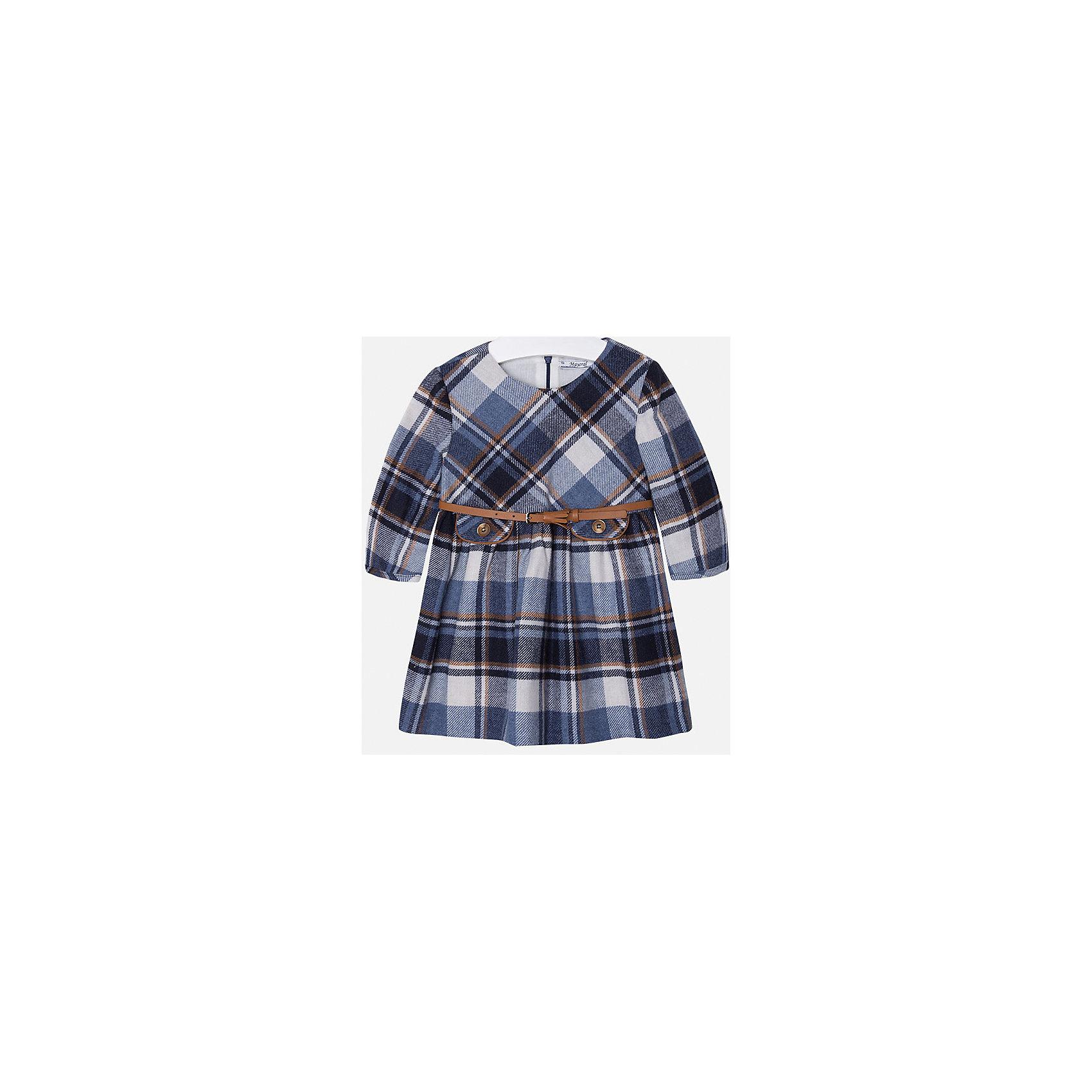 Платье для девочки MayoralПлатье торговой марки Mayoral выполнено в классическом стиле и идеально подойдет маленькой моднице. Платье  имеет оригинальную расцветку- серо-голубую клетку. У платья есть  тоненький бежевый поясок. Сзади платье застегивается на застежку молнию, имеет длинный рукав. <br> <br>Дополнительная информация: <br><br>- цвет: темно-серый, синий <br>- состав: состав: верх - 67% полиэстер,33% хлопок, подкладка - 50% хлопок, 50% полиэстера <br>- вырез горловины: округлый<br>- длина рукава: длинные <br>- вид застежки:  застежка сзади<br>- тип карманов: без карманов<br>- уход за вещами: бережная стирка при 30 градусах<br>- назначение: повседневная<br>- конструктивные элементы: без разреза<br>- пол: девочки<br>- страна бренда: Испания<br>- страна производитель: Китай<br>- комплектация: платье<br><br>Платье для девочки торговой марки Mayoral можно купить в нашем интернет-магазине.<br><br>Ширина мм: 236<br>Глубина мм: 16<br>Высота мм: 184<br>Вес г: 177<br>Цвет: синий<br>Возраст от месяцев: 18<br>Возраст до месяцев: 24<br>Пол: Женский<br>Возраст: Детский<br>Размер: 92,98,116,128,110,122,104,134<br>SKU: 4844520