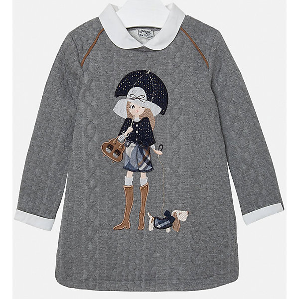 Платье для девочки MayoralОсенне-зимние платья и сарафаны<br>Платье для девочки от популярного испанского бренда Mayoral(Майорал). Платье выполнено из качественных материалов, отлично сохраняющих тепло и приятных телу. Модель украшена крупной аппликацией спереди. Стильное серое платье с белыми манжетами и воротничком для юных элегантных леди.<br>Дополнительная информация:<br>-длинные рукава<br>-украшено аппликацией<br>-цвет: серый<br>-состав: 85% полиэстер, 14% вискоза, 1% эластан<br>Платье Mayoral(Майорал) вы можете купить в нашем интернет-магазине.<br>Ширина мм: 236; Глубина мм: 16; Высота мм: 184; Вес г: 177; Цвет: серый; Возраст от месяцев: 24; Возраст до месяцев: 36; Пол: Женский; Возраст: Детский; Размер: 98,128,104,110,122,116,134; SKU: 4844547;