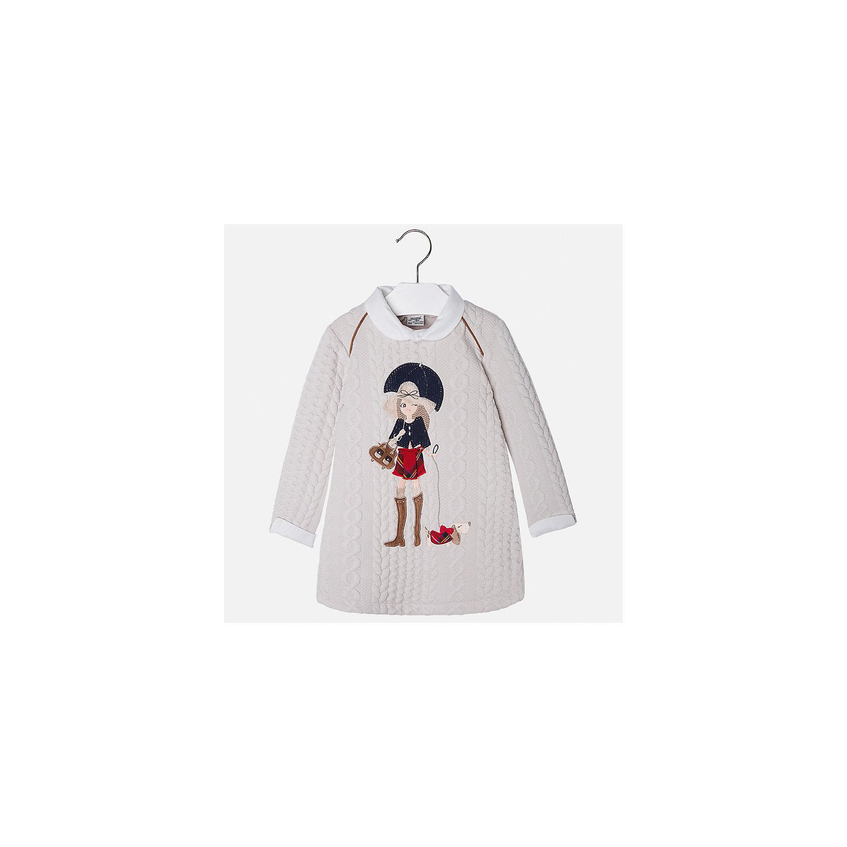 Платье для девочки MayoralПлатья и сарафаны<br>Платье для девочки от популярного испанского бренда Mayoral(Майорал). Платье выполнено из качественных материалов, отлично сохраняющих тепло и приятных телу. Модель украшена крупной аппликацией спереди. Стильное  платье с белыми манжетами, воротничком и яркой аппликацией для юных элегантных леди.<br>Дополнительная информация:<br>-длинные рукава<br>-украшено аппликацией<br>-цвет: молочный<br>-состав: 85% полиэстер, 14% вискоза, 1% эластан<br>Платье Mayoral(Майорал) вы можете купить в нашем интернет-магазине.<br><br>Ширина мм: 236<br>Глубина мм: 16<br>Высота мм: 184<br>Вес г: 177<br>Цвет: бежевый<br>Возраст от месяцев: 60<br>Возраст до месяцев: 72<br>Пол: Женский<br>Возраст: Детский<br>Размер: 116,104,98,134,128,122,110<br>SKU: 4844555