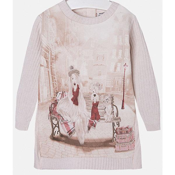 Платье для девочки MayoralОсенне-зимние платья и сарафаны<br>Стильное платье для девочки от известного испанского бренда Mayoral(Майорал). Модель застегивается на молнию сзади и украшена оригинальным крупным принтом спереди. Вязаное платье с красивым рисунком - превосходный выбор для гардероба маленькой модницы!<br>Дополнительная информация:<br>-длинные рукава<br>-застегивается на молнию<br>-крупный принт спереди<br>-цвет: розовый<br>-состав: 86% хлопок, 10% полиэстер, 4% эластан<br>Платье Mayoral(Майорал) вы можете приобрести в нашем интернет-магазине.<br><br>Ширина мм: 236<br>Глубина мм: 16<br>Высота мм: 184<br>Вес г: 177<br>Цвет: бежевый<br>Возраст от месяцев: 18<br>Возраст до месяцев: 24<br>Пол: Женский<br>Возраст: Детский<br>Размер: 92,122,134,110,128,104,98,116<br>SKU: 4844571