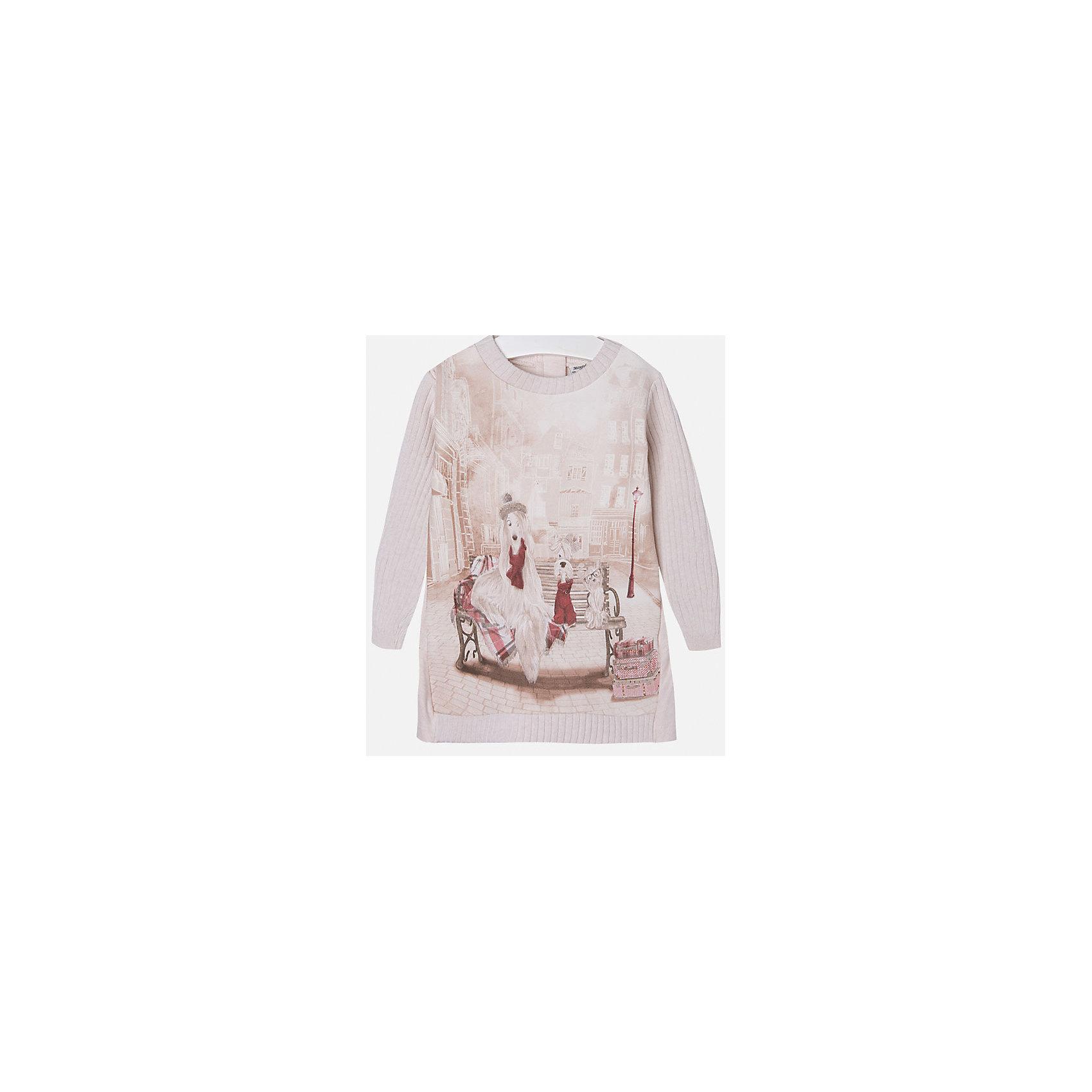 Платье для девочки MayoralОсенне-зимние платья и сарафаны<br>Стильное платье для девочки от известного испанского бренда Mayoral(Майорал). Модель застегивается на молнию сзади и украшена оригинальным крупным принтом спереди. Вязаное платье с красивым рисунком - превосходный выбор для гардероба маленькой модницы!<br>Дополнительная информация:<br>-длинные рукава<br>-застегивается на молнию<br>-крупный принт спереди<br>-цвет: розовый<br>-состав: 86% хлопок, 10% полиэстер, 4% эластан<br>Платье Mayoral(Майорал) вы можете приобрести в нашем интернет-магазине.<br><br>Ширина мм: 236<br>Глубина мм: 16<br>Высота мм: 184<br>Вес г: 177<br>Цвет: бежевый<br>Возраст от месяцев: 18<br>Возраст до месяцев: 24<br>Пол: Женский<br>Возраст: Детский<br>Размер: 110,92,122,134,128,104,98,116<br>SKU: 4844571