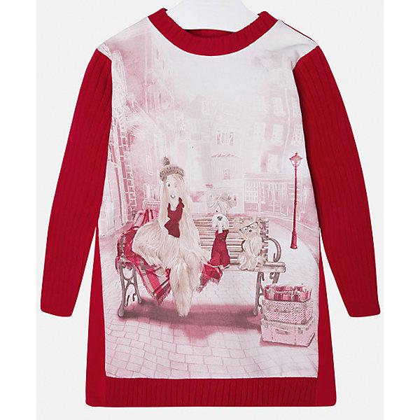 Платье для девочки MayoralОсенне-зимние платья и сарафаны<br>Стильное платье для девочки от известного испанского бренда Mayoral(Майорал). Модель застегивается на молнию сзади и украшена оригинальным крупным принтом спереди. Вязаное платье с красивым рисунком - превосходный выбор для гардероба маленькой модницы!<br>Дополнительная информация:<br>-длинные рукава<br>-застегивается на молнию<br>-крупный принт спереди<br>-цвет: красный<br>-состав: 86% хлопок, 10% полиэстер, 4% эластан<br>Платье Mayoral(Майорал) вы можете приобрести в нашем интернет-магазине.<br><br>Ширина мм: 236<br>Глубина мм: 16<br>Высота мм: 184<br>Вес г: 177<br>Цвет: красный<br>Возраст от месяцев: 18<br>Возраст до месяцев: 24<br>Пол: Женский<br>Возраст: Детский<br>Размер: 92,122,128,98,110,116,134,104<br>SKU: 4844580