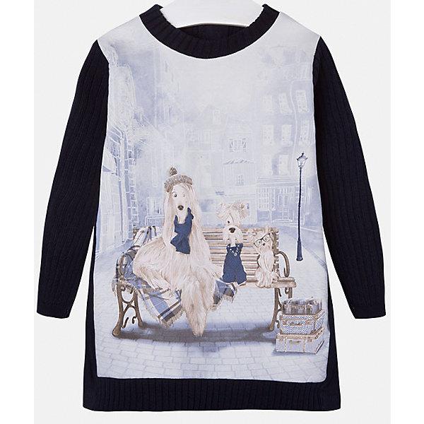 Платье для девочки MayoralПлатья и сарафаны<br>Стильное платье для девочки от известного испанского бренда Mayoral(Майорал). Модель застегивается на молнию сзади и украшена оригинальным крупным принтом спереди. Вязаное платье с красивым рисунком - превосходный выбор для гардероба маленькой модницы!<br>Дополнительная информация:<br>-длинные рукава<br>-застегивается на молнию<br>-крупный принт спереди<br>-цвет: темно-синий<br>-состав: 86% хлопок, 10% полиэстер, 4% эластан<br>Платье Mayoral(Майорал) вы можете приобрести в нашем интернет-магазине.<br><br>Ширина мм: 236<br>Глубина мм: 16<br>Высота мм: 184<br>Вес г: 177<br>Цвет: синий<br>Возраст от месяцев: 18<br>Возраст до месяцев: 24<br>Пол: Женский<br>Возраст: Детский<br>Размер: 92,104,110,116,122,128,134,98<br>SKU: 4844589