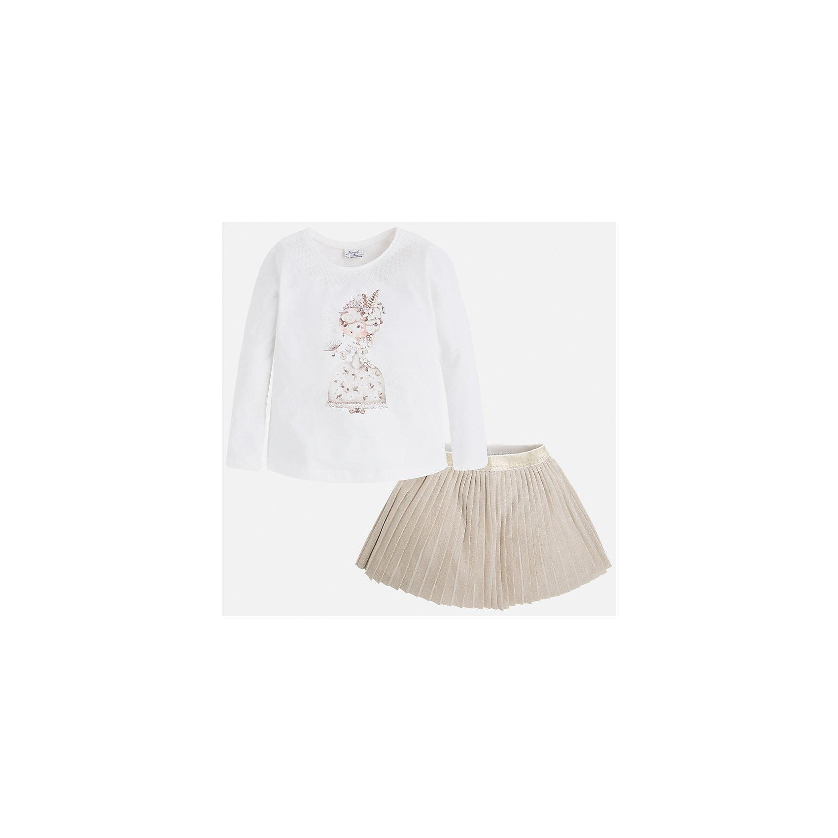 Комплект:топ и юбка для девочки MayoralКомплект из топа и юбки для девочки от популярного испанского бренда Mayoral(Майорал). Комплект изготовлен из хлопка высокого качества, приятного телу. Плиссированная юбка с блестящей вышивкой и топ нежного белого цвета с принтом прекрасно сочетаются и отлично подойдут для прогулок!<br>Дополнительная информация:<br>-длинные рукава<br>-красивый принт спереди<br>-цвет: золотистый/белый<br>-состав. топ: 92% хлопок, 8% эластан. Юбка 66% полиэстер, 30% люрекс, 4% эластан; подкладка: 100% хлопок<br>Комплект из топа и юбки можно купить в нашем интернет-магазине.<br><br>Ширина мм: 207<br>Глубина мм: 10<br>Высота мм: 189<br>Вес г: 183<br>Цвет: желтый<br>Возраст от месяцев: 96<br>Возраст до месяцев: 108<br>Пол: Женский<br>Возраст: Детский<br>Размер: 134,116,110,122,104,128,98<br>SKU: 4844632