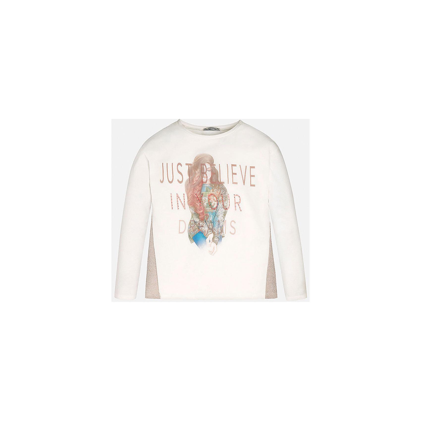 Футболка для девочки MayoralФутболка с длинным рукавом для девочки от известного испанского бренда Mayoral(Майорал) выполнена из натуральных материалов высокого качества. Модель украшена вязаными вставками по бокам, симпатичным принтом и стразами спереди. Красивая футболка отлично впишется в гардероб девочки!<br>Дополнительная информация:<br>-длинные рукава<br>-украшена принтом и стразами<br>-вязаные вставки по бокам<br>-цвет: белый<br>-состав. 62% хлопок,35% полиэстер,3% эластан; подкладка: 95% хлопок, 5% эластан<br>Футболку для девочек Mayoral(Майорал) можно купить в нашем интернет-магазине.<br><br>Ширина мм: 199<br>Глубина мм: 10<br>Высота мм: 161<br>Вес г: 151<br>Цвет: бежевый<br>Возраст от месяцев: 168<br>Возраст до месяцев: 180<br>Пол: Женский<br>Возраст: Детский<br>Размер: 164/170,134/140,146/152,128/134,158/164,152/158<br>SKU: 4844679