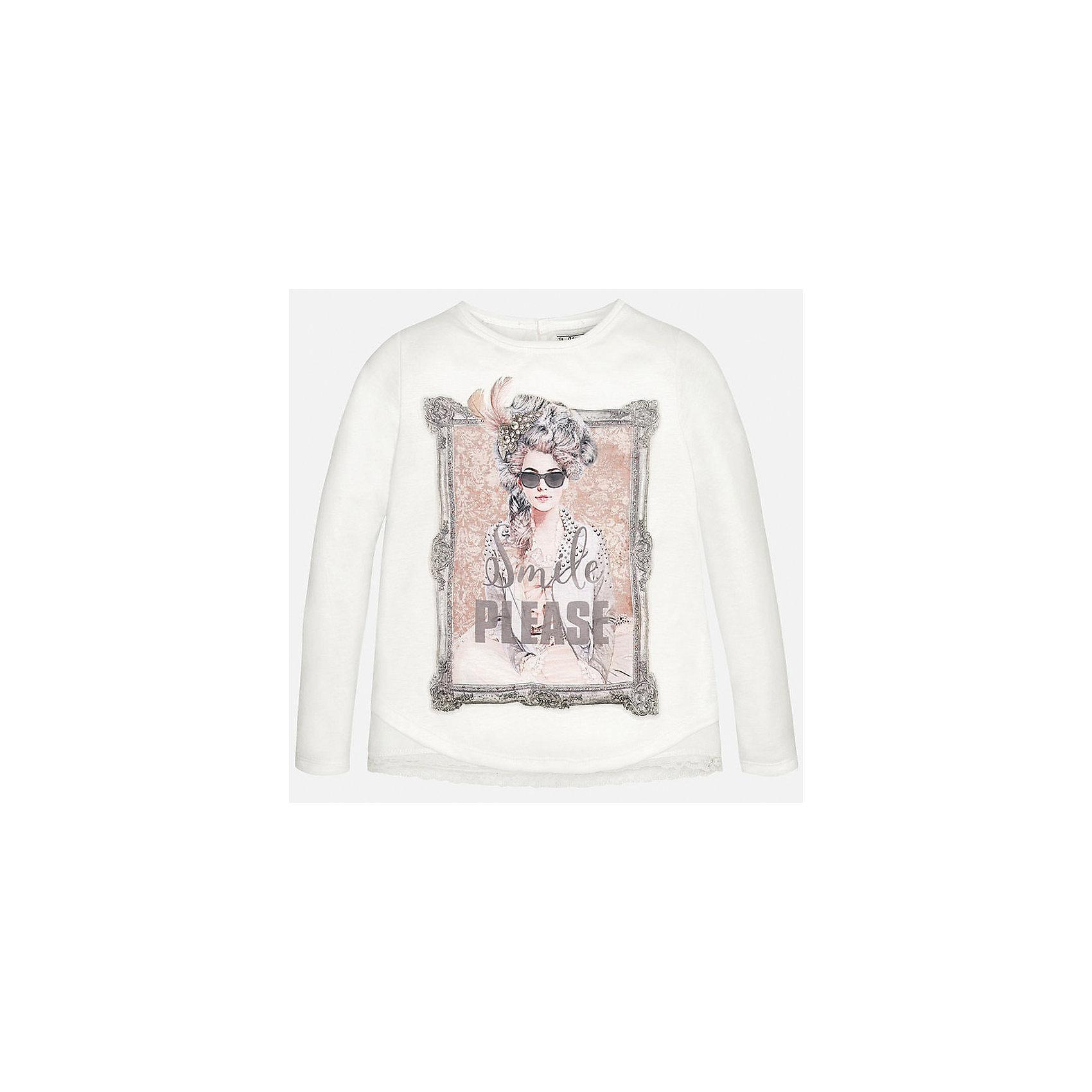 Футболка для девочки MayoralФутболка для девочки от известного испанского бренда Mayoral(Майорал). Модель с длинным рукавом выполнена из качественных прочных материалов, застегивается на пуговицу сзади и украшена принтом и кружевными полосками на подоле и на спине. Великолепный вариант на каждый день!<br>-длинные рукава<br>-украшена принтом<br>-цвет: белый<br>-состав: 100% вискоза<br>Футболку для девочки Mayoral(Майорал) вы можете приобрести в нашем интернет-магазине.<br><br>Ширина мм: 199<br>Глубина мм: 10<br>Высота мм: 161<br>Вес г: 151<br>Цвет: бежевый<br>Возраст от месяцев: 96<br>Возраст до месяцев: 108<br>Пол: Женский<br>Возраст: Детский<br>Размер: 128/134,158/164,134/140,146/152,152/158,164/170<br>SKU: 4844693