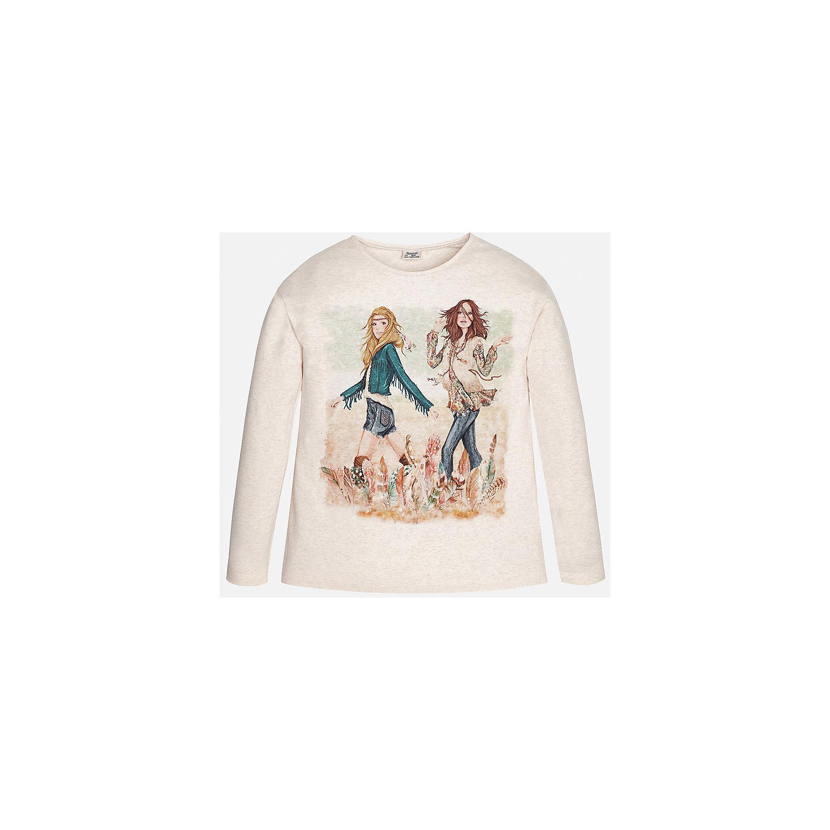 Футболка с длинным рукавом для девочки MayoralФутболки с длинным рукавом<br>Футболка для девочки от известного испанского бренда Mayoral (Майорал). Эта стильная и удобная футболка с длинным рукавом сочетает в себе стиль и простоту. Ненавязчивый принт придет по вкусу вашей моднице. Цвет футболки – светло-бежевый меланж. У футболки свободный крой, слегка расширяющийся к низу, плечо приспущено. В декорациях футболки использованы стразы. К этой футболке подойдут как некоторые классические юбки и брюки, так и джинсы или штаны спортивного кроя.<br><br>Дополнительная информация:<br><br>- Силуэт: расширяющийся к низу<br>- Длина: средняя<br><br>Состав: 92% хлопок, 8% эластан<br><br>Футболку для девочки Mayoral (Майорал) можно купить в нашем интернет-магазине.<br><br>Подробнее:<br>• Для детей в возрасте: от 8 до 16 лет<br>• Номер товара: 4844707<br>Страна производитель: Индия<br><br>Ширина мм: 199<br>Глубина мм: 10<br>Высота мм: 161<br>Вес г: 151<br>Цвет: бежевый<br>Возраст от месяцев: 156<br>Возраст до месяцев: 168<br>Пол: Женский<br>Возраст: Детский<br>Размер: 158/164,146/152,164/170,134/140,128/134,152/158<br>SKU: 4844707