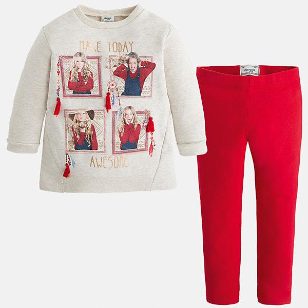 Комплект для девочки: футболка и леггинсы MayoralКомплекты<br>Яркий комплект от Mayoral состоит из футболки с длинным рукавом и леггинсов контрастной расцветки. Футболка оформлена оригинальным принтом с объемными элементами. Леггинсы на поясе с резинкой отлично облегают фигуру, не вытягиваются во время стирки и носки. Комплект выполнен из приятного на ощупь трикотажного материала. <br><br>Дополнительная информация:<br><br>- Мягкий трикотажный материал. <br>- Комплектация: леггинсы, футболка. <br>- Округлый вырез горловины. <br>- Оригинальный принт спереди. <br>- Манжеты и горловина в рубчик.<br>- Леггинсы контрастной расцветки на поясе с резинкой. <br>Состав:<br>- 60% хлопок, 35% полиэстер, 5% эластан.<br><br>Комплект: футболку и леггинсы для девочки Mayoral (Майорал), кремовый/красный, можно купить в нашем магазине.<br><br>Ширина мм: 123<br>Глубина мм: 10<br>Высота мм: 149<br>Вес г: 209<br>Цвет: красный<br>Возраст от месяцев: 96<br>Возраст до месяцев: 108<br>Пол: Женский<br>Возраст: Детский<br>Размер: 128,98,110,122,92,134,116,104<br>SKU: 4844952