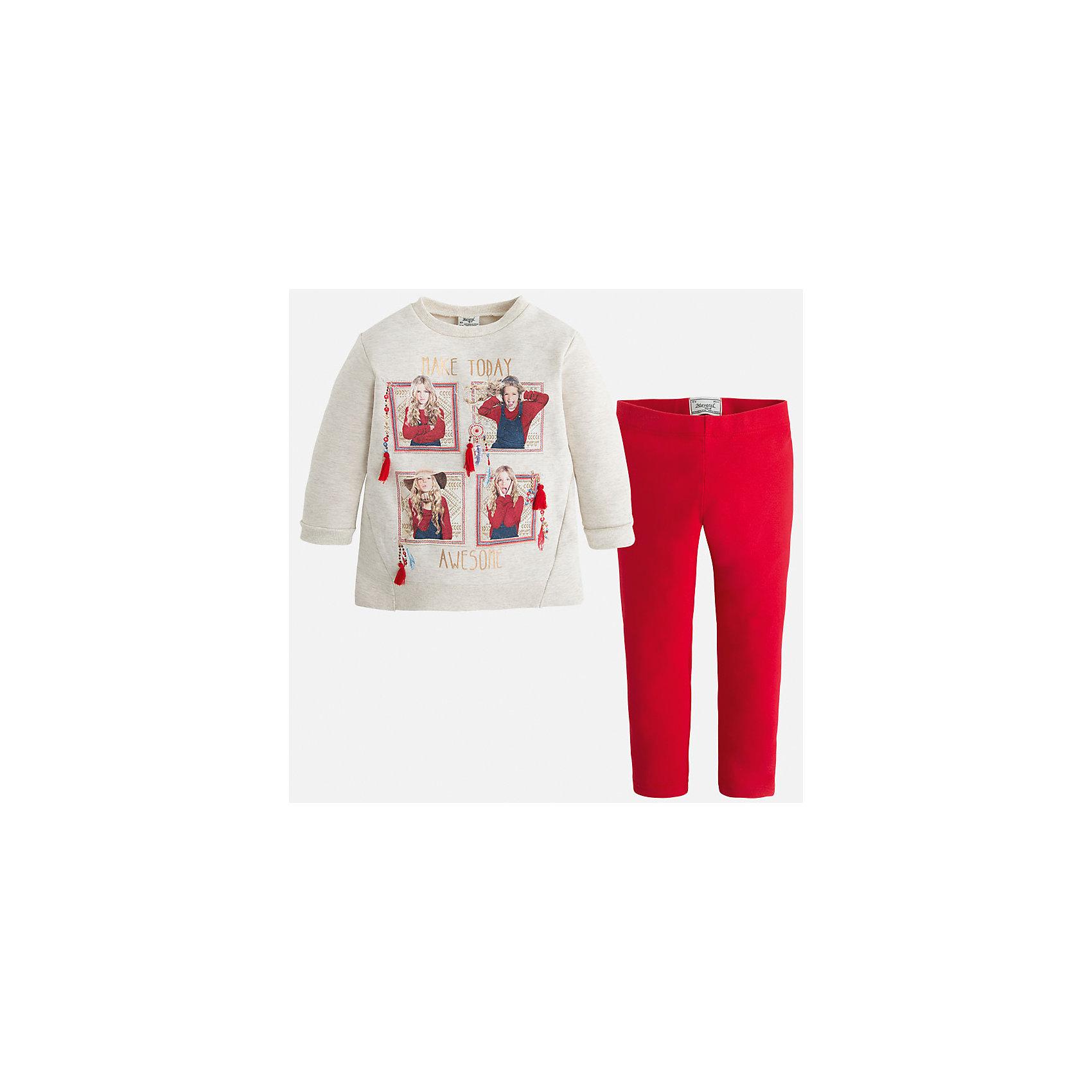 Комплект для девочки: футболка и леггинсы MayoralКомплекты<br>Яркий комплект от Mayoral состоит из футболки с длинным рукавом и леггинсов контрастной расцветки. Футболка оформлена оригинальным принтом с объемными элементами. Леггинсы на поясе с резинкой отлично облегают фигуру, не вытягиваются во время стирки и носки. Комплект выполнен из приятного на ощупь трикотажного материала. <br><br>Дополнительная информация:<br><br>- Мягкий трикотажный материал. <br>- Комплектация: леггинсы, футболка. <br>- Округлый вырез горловины. <br>- Оригинальный принт спереди. <br>- Манжеты и горловина в рубчик.<br>- Леггинсы контрастной расцветки на поясе с резинкой. <br>Состав:<br>- 60% хлопок, 35% полиэстер, 5% эластан.<br><br>Комплект: футболку и леггинсы для девочки Mayoral (Майорал), кремовый/красный, можно купить в нашем магазине.<br><br>Ширина мм: 123<br>Глубина мм: 10<br>Высота мм: 149<br>Вес г: 209<br>Цвет: красный<br>Возраст от месяцев: 24<br>Возраст до месяцев: 36<br>Пол: Женский<br>Возраст: Детский<br>Размер: 98,110,122,92,128,134,116,104<br>SKU: 4844952