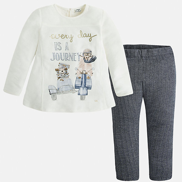 Комлект для девочки: футболка и леггинсы MayoralКомплекты<br>Стильный комплект от Mayoral состоит из футболки с длинным рукавом и леггинсов контрастной расцветки. Футболка оформлена оригинальным принтом с объемными элементами и вышивкой. Леггинсы из ткани в рубчик отлично облегают фигуру, не вытягиваются во время стирки и носки. Комплект выполнен из натурального хлопка, прекрасно пропускает воздух, очень приятен к телу.  <br><br>Дополнительная информация:<br><br>- Мягкий трикотажный материал. <br>- Комплектация: леггинсы, футболка. <br>- Округлый вырез горловины. <br>- Футболка застегивается на пуговицу сзади. <br>- Оригинальный принт спереди. <br>- Леггинсы на поясе с резинкой.<br>Состав:<br>- 100% хлопок.<br><br>Комплект: футболку и леггинсы для девочки Mayoral (Майорал), белый/темно-синий, можно купить в нашем магазине.<br>Ширина мм: 123; Глубина мм: 10; Высота мм: 149; Вес г: 209; Цвет: синий; Возраст от месяцев: 96; Возраст до месяцев: 108; Пол: Женский; Возраст: Детский; Размер: 98,134,116,104,110,122,128; SKU: 4844978;