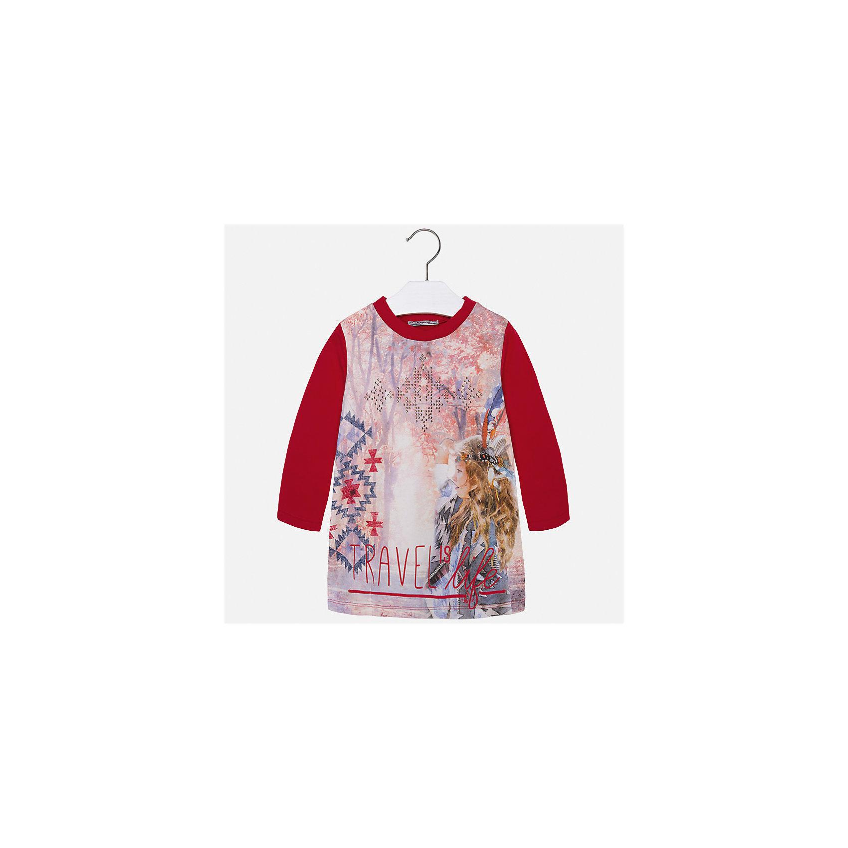 Платье для девочки MayoralПлатья и сарафаны<br>Яркой платье Mayoral для ярких дней и стильных модниц! Модель комбинированной расцветки оформлена актуальным принтом и металлическими бусинками на груди. Платье выполнено из мягкого хлопка с добавлением нитей эластана, прекрасно смотрится на фигуре и очень приятно к телу. <br><br>Дополнительная информация:<br><br>- Мягкий трикотажный материал. <br>- Округлый вырез горловины. <br>- Длинный рукав.<br>- Горловина в рубчик.<br>- Оригинальный принт спереди. <br>Состав:<br>- 95% хлопок, 5% эластан.<br><br>Платье для девочки Mayoral (Майорал), красное, можно купить в нашем магазине.<br><br>Ширина мм: 236<br>Глубина мм: 16<br>Высота мм: 184<br>Вес г: 177<br>Цвет: красный<br>Возраст от месяцев: 60<br>Возраст до месяцев: 72<br>Пол: Женский<br>Возраст: Детский<br>Размер: 116,128,122,110,104,92,134,98<br>SKU: 4844986