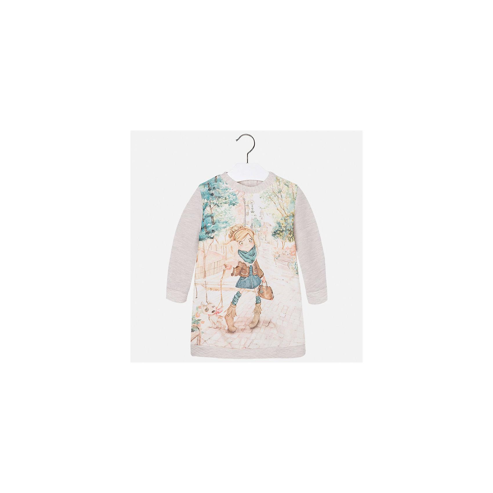 Платье для девочки MayoralПлатья и сарафаны<br>Платье для девочки от известного испанского бренда Mayoral (Майорал). Это модное и удобное платье с длинным рукавом сочетает в себе стиль и простоту. Приятный цвет серый меланж и яркий фото-принт придут по вкусу вашей моднице. У платья свободный крой, слегка расширяющийся к низу. Отличное пополнение для сезона осень-зима. К этому платью подойдут как классические колготки, так и современные укороченные леггинсы.<br><br>Дополнительная информация:<br><br>- Силуэт: прямой<br>- Рукав: длинный<br>- Длина: средняя<br><br>Состав: 75% хлопок, 20% полиэстер, 5% эластан<br><br>Платье для девочки Mayoral (Майорал) можно купить в нашем интернет-магазине.<br><br>Подробнее:<br>• Для детей в возрасте: от 2 до 9 лет<br>• Номер товара: 4845022<br>Страна производитель: Индия<br><br>Ширина мм: 236<br>Глубина мм: 16<br>Высота мм: 184<br>Вес г: 177<br>Цвет: бежевый<br>Возраст от месяцев: 18<br>Возраст до месяцев: 24<br>Пол: Женский<br>Возраст: Детский<br>Размер: 92,122,116,128,134,104,98,110<br>SKU: 4845022