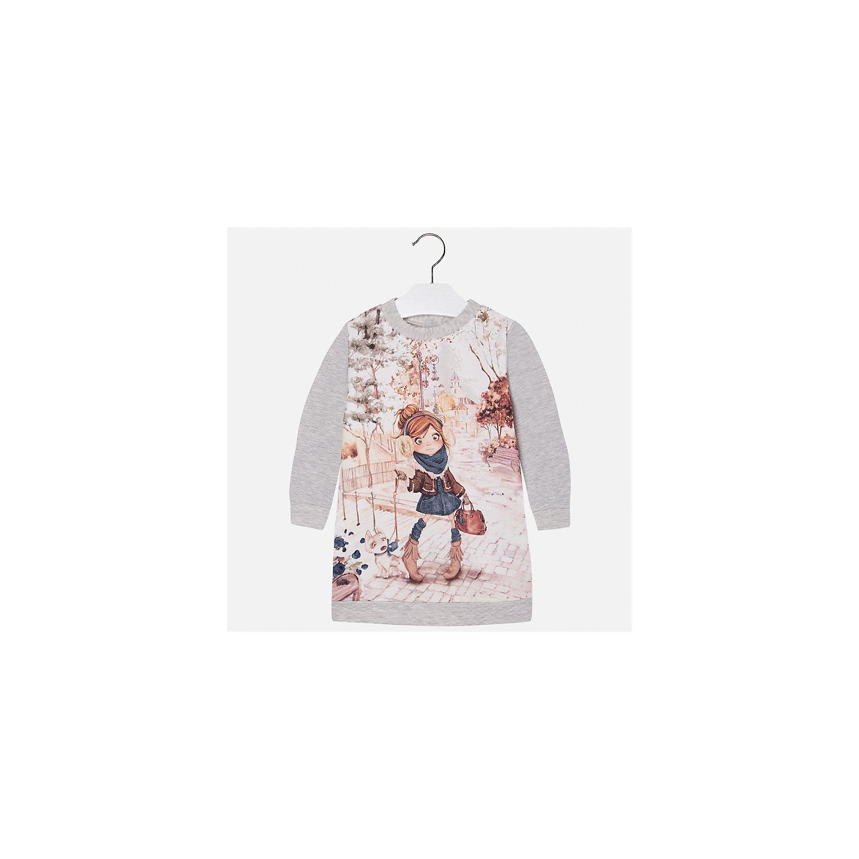 Платье для девочки MayoralПлатья и сарафаны<br>Это очаровательное уютное платье приведет в восторг вех девочек. Модель оформлена ярким принтом с металлическими элементами, дополнена манжетами и резинкой по низу, застегивается на пуговицы на спине. Платье Mayoral изготовлено из приятного на ощупь трикотажа, отлично смотрится на фигуре, практически не мнется - прекрасный вариант для каждодневной носки. <br><br>Дополнительная информация:<br><br>- Мягкий трикотажный материал. <br>- Округлый вырез горловины. <br>- Длинный рукав.<br>- Оригинальный принт спереди. <br>- Застегивается на пуговицы на спине. <br>- Манжеты на рукавах, резинка по низу. <br>Состав:<br>- 95% хлопок, 5% эластан.<br><br>Платье для девочки Mayoral (Майорал), серое, можно купить в нашем магазине.<br><br>Ширина мм: 236<br>Глубина мм: 16<br>Высота мм: 184<br>Вес г: 177<br>Цвет: серый<br>Возраст от месяцев: 48<br>Возраст до месяцев: 60<br>Пол: Женский<br>Возраст: Детский<br>Размер: 110,92,128,98,134,116,104,122<br>SKU: 4845031