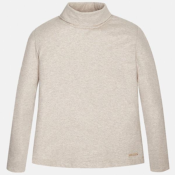Водолазка для девочки MayoralВодолазки<br>Водолазка для девочки от известного испанского бренда Mayoral (Майорал). Эта модная и удобная водолазка с длинным рукавом и высокой горловиной сочетает в себе стиль и простоту. Приятный цвет бежевый меланж и небольшой золотой аксессуар с наименованием бренда придут по вкусу вашей моднице. У водолазки облегающий прямой крой. Высокое горло защитит от ветра и холода. Отличное пополнение для сезона осень-зима. К этой водолазке подойдут как классические юбки и брюки, так и джинсы или штаны спортивного кроя. <br><br>Дополнительная информация:<br><br>- Силуэт: облегающий<br>- Рукав: длинный<br>- Длина: средняя<br><br>Состав: 58% хлопок, 38% полиэстер, 4% эластан<br><br>Водолазку для девочки Mayoral (Майорал) можно купить в нашем интернет-магазине.<br><br>Подробнее:<br>• Для детей в возрасте: от 8 до 16 лет<br>• Номер товара: 4845054<br>Страна производитель: Индия<br><br>Ширина мм: 230<br>Глубина мм: 40<br>Высота мм: 220<br>Вес г: 250<br>Цвет: бежевый<br>Возраст от месяцев: 156<br>Возраст до месяцев: 168<br>Пол: Женский<br>Возраст: Детский<br>Размер: 158/164,134/140,146/152,128/134,164/170,152/158<br>SKU: 4845054