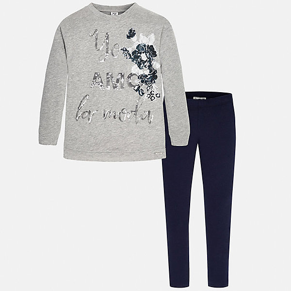 Комлект для девочки: футболка и леггинсы MayoralКомплекты<br>Стильный комплект для девочки от Mayoral состоит из футболки с длинным рукавом и леггинсов. Футболка спокойной расцветки оформлена блестящими пайетками. Леггинсы на поясе с резинкой отлично облегают фигуру и не сковывают движения. Комплект выполнен из приятного на ощупь трикотажного материала. <br><br>Дополнительная информация:<br><br>- Мягкий трикотажный материал. <br>- Комплектация: леггинсы, футболка. <br>- Округлый вырез горловины. <br>- Вышивка пайетками. <br>- Леггинсы контрастной расцветки на поясе с резинкой. <br>Состав:<br>- 60% хлопок, 40% полиэстер.<br><br>Комплект: футболку и леггинсы для девочки Mayoral (Майорал), серый/темно-синий, можно купить в нашем магазине.<br><br>Ширина мм: 123<br>Глубина мм: 10<br>Высота мм: 149<br>Вес г: 209<br>Цвет: синий<br>Возраст от месяцев: 144<br>Возраст до месяцев: 156<br>Пол: Женский<br>Возраст: Детский<br>Размер: 152/158,146/152,134/140,164/170,158/164,128/134<br>SKU: 4845145