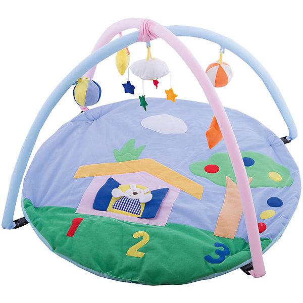 Детский игровой коврик с погремушками на подвеске в сумкеРазвивающие коврики<br>Детский игровой коврик Мишка в лесу.<br><br>Подойдет для детей с рождения и до 18 месяцев. Малыш может лежать или сидеть на мягком одеяле и играть с мягкими игрушками и погремушками, прикрепленными к специальной арке. На самом коврике изображение мишки, которое малыш сможет рассматривать лежа на животике. Игровой коврик развивает хватательные рефлексы, тактильное восприятие, зрение и слух и мелкую моторику рук.<br><br>Дополнительная информация:<br><br>Пол: для мальчиков и девочек<br>Комплект: 2 дуги, коврик, 4 погремушки.<br>Из чего сделана игрушка (состав): текстиль, пластик.<br>Размер упаковки: 82 х 55 х 7 см.<br>Упаковка: сумка.<br><br>Ширина мм: 82<br>Глубина мм: 55<br>Высота мм: 7<br>Вес г: 810<br>Возраст от месяцев: 0<br>Возраст до месяцев: 36<br>Пол: Унисекс<br>Возраст: Детский<br>SKU: 4845293