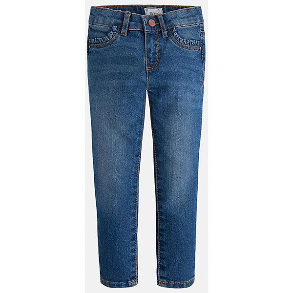 Джинсы для девочки MayoralДжинсовая одежда<br>Брюки темно-серого цвета торговой марки  Майорал-Mayoral  для девочек.<br>Стильные брюки, выполненные из чистого хлопка, украшены декоративными отворотами и шнурком. Модель дополнена прорезными боковыми карманами, а также широкой эластичной резинкой на поясе. Модель дополнит и подчеркнет повседневный образ ребенка.<br><br>Дополнительная информация:<br><br>- вид застежки: на молнии <br>- цвет: темно-синий<br>- фактура материала: текстильный<br>- покрой: прямой<br>- состав:100% хлопок<br>- уход за вещами: бережная стирка при 30 градусах<br>- рисунок: без рисунка<br>- назначение: повседневная<br>- сезон: круглогодичный<br>- пол: девочки<br>- страна бренда: Испания<br>- страна производитель:  Индия<br>- комплектация: брюки<br><br>Брюки  для девочки торгов ой марки    Майорал можно купить в нашем интернет магазине.<br><br>Ширина мм: 215<br>Глубина мм: 88<br>Высота мм: 191<br>Вес г: 336<br>Цвет: синий<br>Возраст от месяцев: 18<br>Возраст до месяцев: 24<br>Пол: Женский<br>Возраст: Детский<br>Размер: 92,104,110,116,98,134,128,122<br>SKU: 4845742