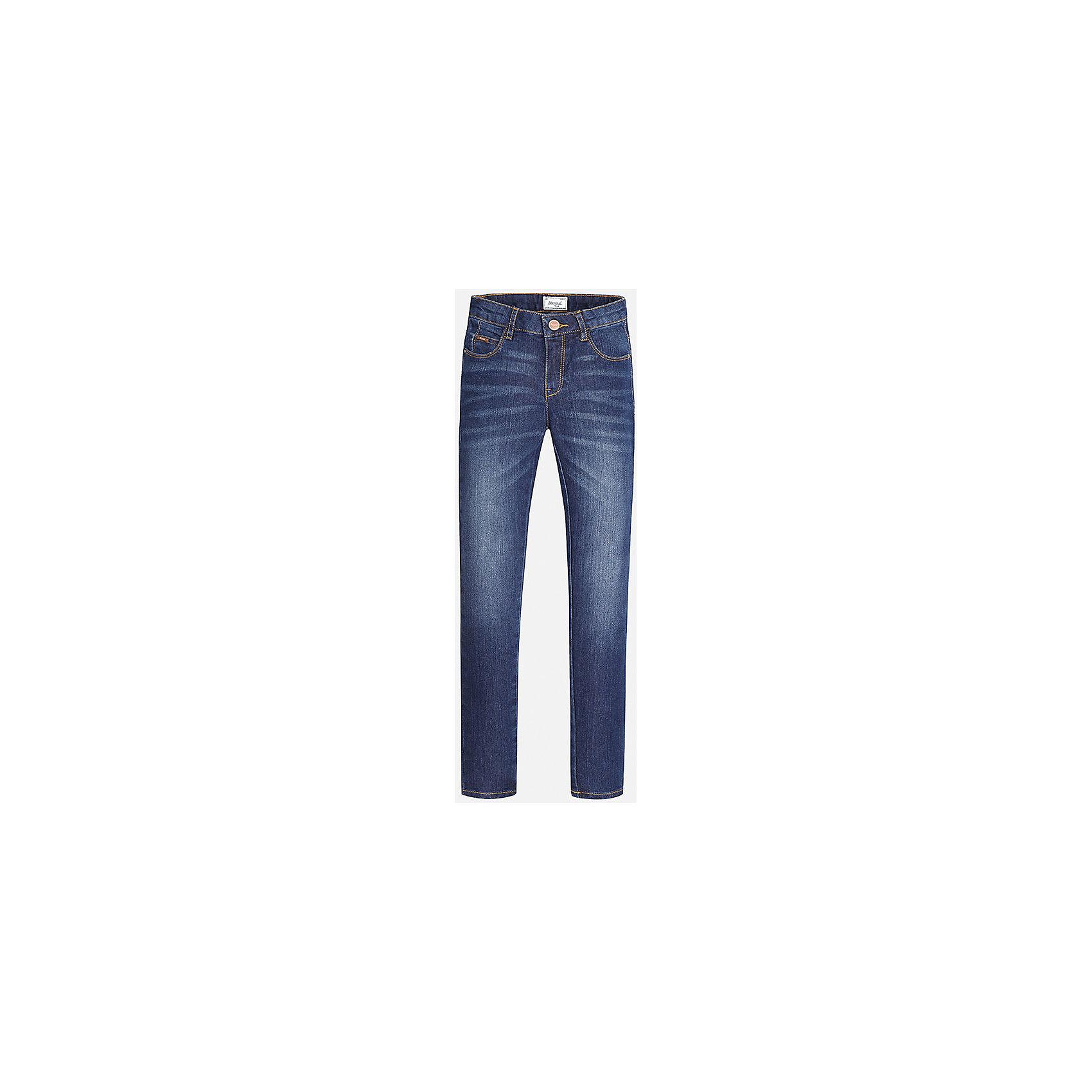 Джинсы для девочки MayoralСтильные джинсы торговой марки    Майорал -Mayoralдля маленьких модниц. Выполнены из плотного и качественного материала. Джинсы зауженного покроя, в крапинку, карманы декорированы вставками коричневого цвета.<br><br>Дополнительная инфориация:<br><br>- вид застежки: на молнии <br>- цвет: темно-синий<br>- фактура материала: текстильный<br>- покрой: прямой<br>- состав:68% хлопок; 20% полиэстер;10% вискоза; 2% эластана<br>- уход за вещами: бережная стирка при 30 градусах<br>- рисунок: без рисунка<br>- назначение: повседневная<br>- сезон: круглогодичный<br>- пол: девочки<br>- страна бренда: Испания<br>- страна производитель:  Испания <br>- комплектация: джинсы<br><br>Джинсы торгов ой марки    Майорал можно купить в нашем интернет магазине.<br><br>Ширина мм: 215<br>Глубина мм: 88<br>Высота мм: 191<br>Вес г: 336<br>Цвет: синий<br>Возраст от месяцев: 108<br>Возраст до месяцев: 120<br>Пол: Женский<br>Возраст: Детский<br>Размер: 128/134,158/164,134/140,152/158,146/152,164/170<br>SKU: 4845769