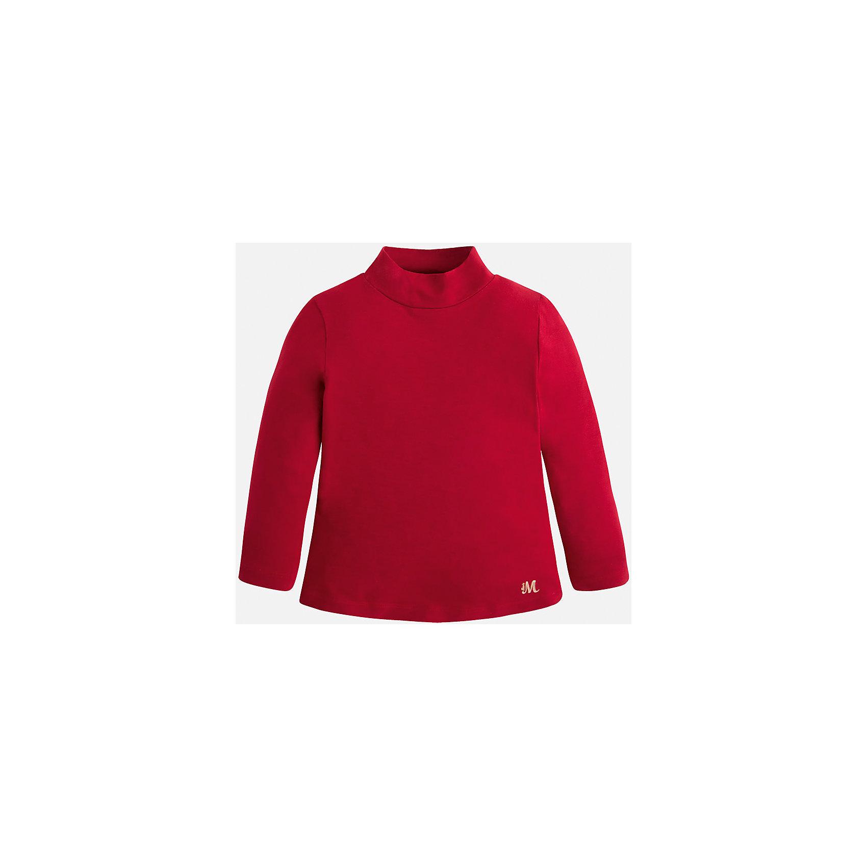 Водолазка для девочки MayoralВодолазки<br>Водолазка для девочки от известного испанского бренда Mayoral (Майорал). Эта стильная и удобная футболка с длинным рукавом и горловиной сочетает в себе стиль и простоту. Приятный алый цвет и золотая нашивка с логотипом бренда придут по вкусу вашей моднице. У футболки свободный крой, слегка расширяющийся к низу. Отличное пополнение для сезона осень-зима. К этой футболке подойдут как некоторые классические юбки и брюки, так и джинсы или штаны спортивного кроя. <br><br>Дополнительная информация:<br><br>- Силуэт: расширяющийся к низу<br>- Рукав: укороченный<br>- Длина: средняя<br><br>Состав: 95% вискоза, 5% эластан<br><br>Футболку для девочки Mayoral (Майорал) можно купить в нашем интернет-магазине.<br><br>Подробнее:<br>• Для детей в возрасте: от 4 до 9 лет<br>• Номер товара: 4845795<br>Страна производитель: Индия<br><br>Ширина мм: 199<br>Глубина мм: 10<br>Высота мм: 161<br>Вес г: 151<br>Цвет: красный<br>Возраст от месяцев: 96<br>Возраст до месяцев: 108<br>Пол: Женский<br>Возраст: Детский<br>Размер: 128,116,110,134,98,92,122,104<br>SKU: 4845795