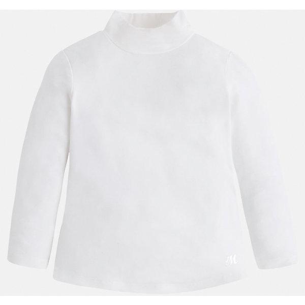 Футболка для девочки MayoralВодолазки<br>Футболка для девочки от известного испанского бренда Mayoral (Майорал). Эта стильная и удобная футболка с длинным рукавом и горловиной сочетает в себе стиль и простоту. Приятный бело-кремовый цвет и небольшая нашивка с логотипом бренда придут по вкусу вашей моднице. У футболки свободный крой, слегка расширяющийся к низу. Отличное пополнение для сезона осень-зима. К этой футболке подойдут как классические юбки и брюки, так и джинсы или штаны спортивного кроя. <br><br>Дополнительная информация:<br><br>- Силуэт: расширяющийся к низу<br>- Рукав: укороченный<br>- Длина: средняя<br><br>Состав: 95% вискоза, 5% эластан<br><br>Футболку для девочки Mayoral (Майорал) можно купить в нашем интернет-магазине.<br><br>Подробнее:<br>• Для детей в возрасте: от 4 до 9 лет<br>• Номер товара: 4845804<br>Страна производитель: Индия<br>Ширина мм: 199; Глубина мм: 10; Высота мм: 161; Вес г: 151; Цвет: белый; Возраст от месяцев: 72; Возраст до месяцев: 84; Пол: Женский; Возраст: Детский; Размер: 122,134,104,98,116,128,110,92; SKU: 4845804;