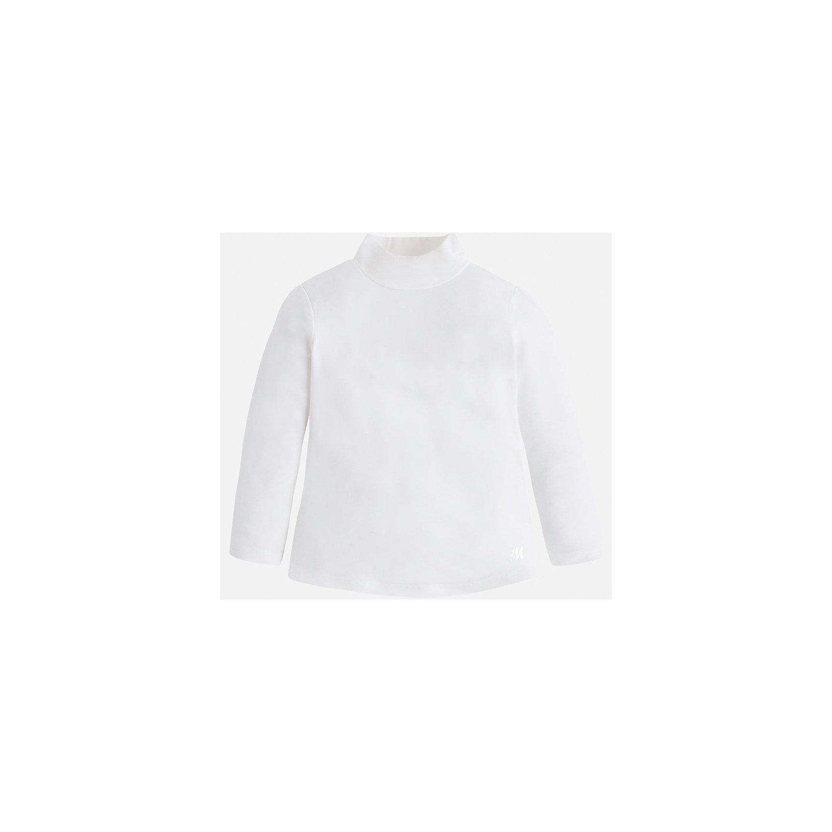 Футболка для девочки MayoralВодолазки<br>Футболка для девочки от известного испанского бренда Mayoral (Майорал). Эта стильная и удобная футболка с длинным рукавом и горловиной сочетает в себе стиль и простоту. Приятный бело-кремовый цвет и небольшая нашивка с логотипом бренда придут по вкусу вашей моднице. У футболки свободный крой, слегка расширяющийся к низу. Отличное пополнение для сезона осень-зима. К этой футболке подойдут как классические юбки и брюки, так и джинсы или штаны спортивного кроя. <br><br>Дополнительная информация:<br><br>- Силуэт: расширяющийся к низу<br>- Рукав: укороченный<br>- Длина: средняя<br><br>Состав: 95% вискоза, 5% эластан<br><br>Футболку для девочки Mayoral (Майорал) можно купить в нашем интернет-магазине.<br><br>Подробнее:<br>• Для детей в возрасте: от 4 до 9 лет<br>• Номер товара: 4845804<br>Страна производитель: Индия<br><br>Ширина мм: 199<br>Глубина мм: 10<br>Высота мм: 161<br>Вес г: 151<br>Цвет: белый<br>Возраст от месяцев: 24<br>Возраст до месяцев: 36<br>Пол: Женский<br>Возраст: Детский<br>Размер: 98,134,122,92,110,128,116,104<br>SKU: 4845804