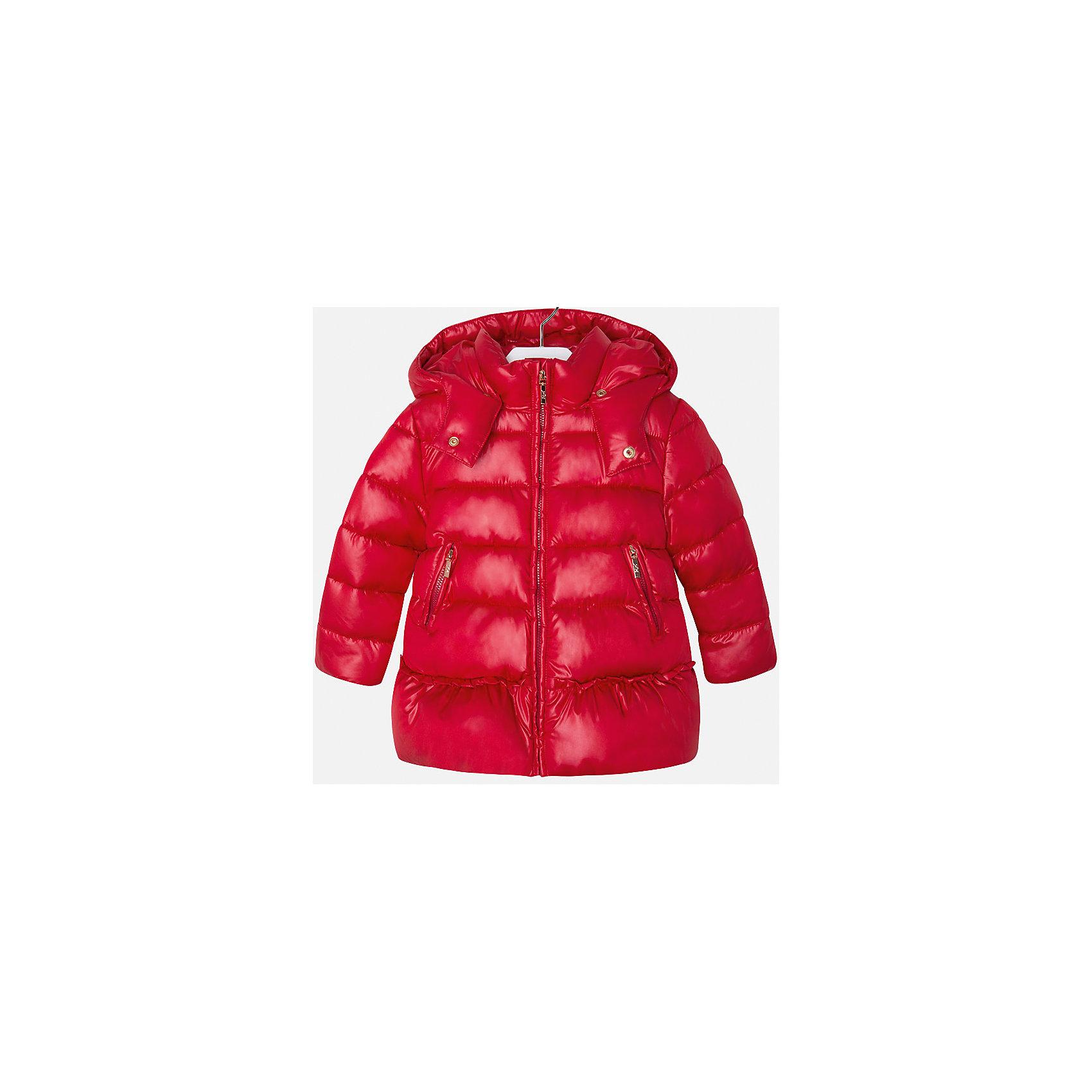 Куртка для девочки MayoralКуртка для девочки торговой марки    Майорал -Mayoral. Куртка на велюровой подкладке по утепленности - средняя. Застегивается на замок-молнию. Воротник-стойка, отстегивающийся капюшон, два врезных кармана на молниях. Рукава и низ куртки ни трикотажном манжете.<br><br>Дополнительная информация: <br><br>- цвет: бордово-алый<br>- состав: полиэстер: 100%, подкладка: 50% хлопка; 50% полиэстера<br>- длина рукава: длинные<br>- фактура материала: меховой<br>- вид застежки: кнопки<br>- длина изделия: по спинке: 46 см<br>- покрой: прямой<br>- утеплитель: синтепон<br>- тип карманов: без карманов<br>- уход за вещами: бережная стирка при 30 градусах<br>- рисунок: без рисунка<br>- плотность: утеплителя: 0 г/кв.м<br>- назначение: повседневная<br>- характеристика утеплителя: fill power<br>- сезон: осень, зима, весна<br>- пол: девочки<br>- страна бренда: Испания<br>- страна производитель: Марокко<br>- комплектация: куртка<br><br>Куртку торговой марки    Майорал  можно купить в нашем интернет-магазине.<br><br>Ширина мм: 356<br>Глубина мм: 10<br>Высота мм: 245<br>Вес г: 519<br>Цвет: красный<br>Возраст от месяцев: 48<br>Возраст до месяцев: 60<br>Пол: Женский<br>Возраст: Детский<br>Размер: 110,122,128,104,98,134,116<br>SKU: 4845935