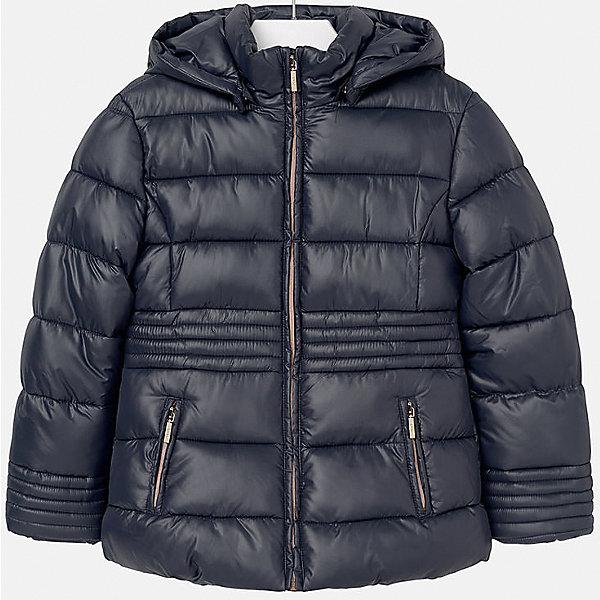 Куртка для девочки MayoralВерхняя одежда<br>Куртка для девочки Mayoral отлично подойдет для холодной осени. Модель выполнена из высококачественной водоотталкивающей ткани, имеет воротник стойку надежно защищающий шею ребенка от холодного ветра, и отстегивающийся капюшон. Куртка дополнена двумя боковыми карманами на молнии и мягкую подкладку. Нейтральная расцветка позволяет модели сочетаться с любыми вещами в гардеробе. <br><br>Дополнительная информация:<br><br>- Температурный режим: от + 5? до - 5?.<br>- Сезон: демисезонная.<br>- Тип застежки: молния. <br>- Прочная водоотталкивающая ткань.<br>- Капюшон на кнопках (отстёгивается).<br>- Воротник-стойка. <br>- 2 боковых кармана на молнии. <br>Состав: <br>верх - 100% полиэстер; подкладка - 100% полиэстер; наполнитель - 100% полиэстер.<br><br>Куртка для девочки Mayoral (Майорал), темно-синюю, можно купить в нашем магазине.<br><br>Ширина мм: 356<br>Глубина мм: 10<br>Высота мм: 245<br>Вес г: 519<br>Цвет: синий<br>Возраст от месяцев: 168<br>Возраст до месяцев: 180<br>Пол: Женский<br>Возраст: Детский<br>Размер: 164/170,146/152,158/164,134/140,128/134,152/158<br>SKU: 4845943