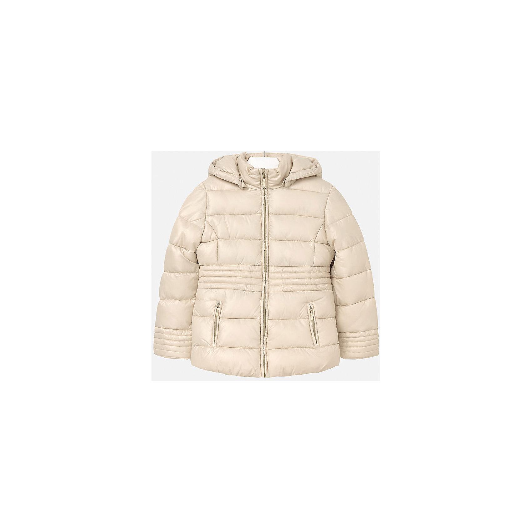Куртка для девочки MayoralКуртка для девочки Mayoral отлично подойдет для холодной осени. Модель выполнена из высококачественной водоотталкивающей ткани, имеет воротник стойку надежно защищающий шею ребенка от холодного ветра, и отстегивающийся капюшон. Куртка дополнена двумя боковыми карманами на молнии и мягкую подкладку. Нейтральная расцветка позволяет модели сочетаться с любыми вещами в гардеробе. <br><br>Дополнительная информация:<br><br>- Температурный режим: от + 5? до - 5?.<br>- Сезон: демисезонная.<br>- Тип застежки: молния. <br>- Прочная водоотталкивающая ткань.<br>- Капюшон на кнопках (отстёгивается).<br>- Воротник-стойка. <br>- 2 боковых кармана на молнии. <br>Состав: <br>верх - 100% полиэстер; подкладка - 100% полиэстер; наполнитель - 100% полиэстер.<br><br>Куртка для девочки Mayoral (Майорал), бежевую, можно купить в нашем магазине.<br><br>Ширина мм: 356<br>Глубина мм: 10<br>Высота мм: 245<br>Вес г: 519<br>Цвет: желтый<br>Возраст от месяцев: 132<br>Возраст до месяцев: 144<br>Пол: Женский<br>Возраст: Детский<br>Размер: 134/140,146/152,158/164,128/134,152/158,164/170<br>SKU: 4845950