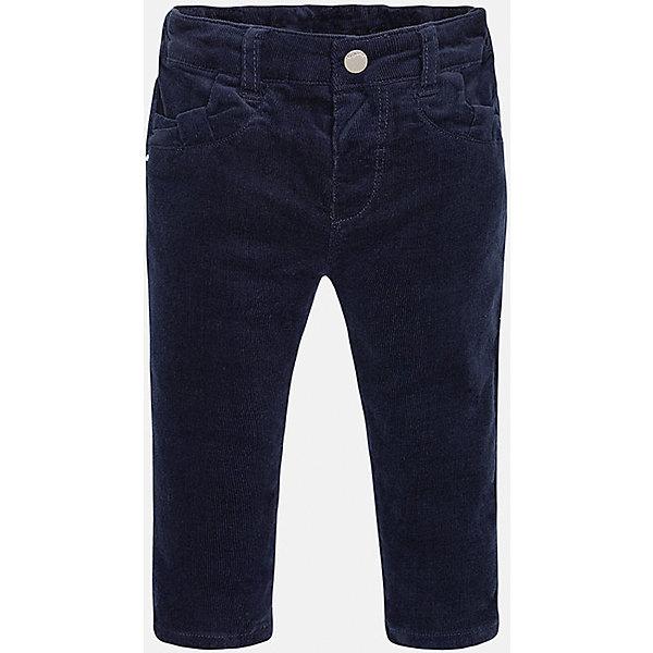 Брюки для девочки MayoralДжинсы и брючки<br>Стильные вельветовые брюки Mayoral(Майорал) для девочки. Брючки изготовлены из хлопка, приятного телу. На талии есть регулируемая резиночка. Передние карманы сделаны в виде декоративного бантика, задние карманы с оборками. Такие брюки прекрасно будут сидеть на маленькой моднице!<br><br>Дополнительная информация:<br>Состав: 98% хлопок, 2% эластан<br>Цвет: синий<br>Брюки для девочки Mayoral(Майорал) вы можете купить в нашем интернет-магазине.<br><br>Ширина мм: 215<br>Глубина мм: 88<br>Высота мм: 191<br>Вес г: 336<br>Цвет: синий<br>Возраст от месяцев: 6<br>Возраст до месяцев: 9<br>Пол: Женский<br>Возраст: Детский<br>Размер: 74,92,80,86<br>SKU: 4845962