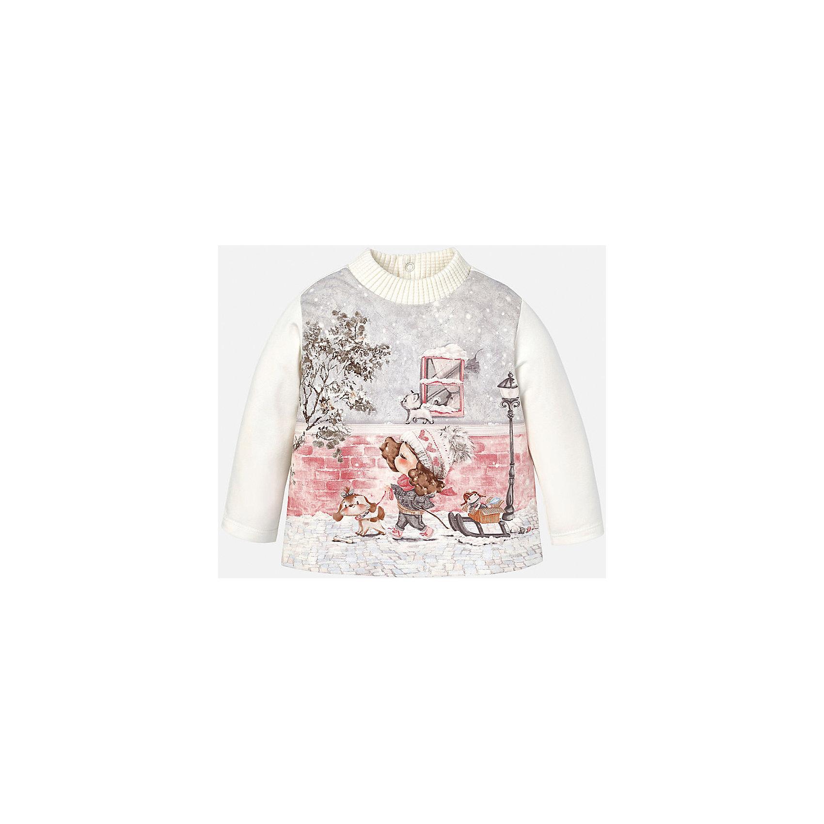 Футболка для девочки MayoralФутболка для девочки от известного испанского бренда Mayoral (Майорал). Эта модная и удобная футболка с длинным рукавом сочетает в себе стиль и простоту. Приятный бело-кремовый цвет и зимний фото-принт с девочкой придут по вкусу вашей моднице. У футболки свободный крой, слегка расширяющийся к низу. Утепленная горловина защитит от холода. Футболка застегивается сзади на три кнопочки. Отличное пополнение для сезона осень-зима. К этой футболке подойдут как классические юбки и брюки, так и джинсы или штаны спортивного кроя. <br><br>Дополнительная информация:<br><br>- Силуэт: расширяющийся к низу<br>- Рукав: укороченный<br>- Длина: средняя<br><br>Состав: 92% хлопок, 8% эластан<br><br>Футболку для девочки Mayoral (Майорал) можно купить в нашем интернет-магазине.<br><br>Подробнее:<br>• Для детей в возрасте: от 4 до 9 лет<br>• Номер товара: 4846004<br>Страна производитель: Индия<br><br>Ширина мм: 199<br>Глубина мм: 10<br>Высота мм: 161<br>Вес г: 151<br>Цвет: бежевый<br>Возраст от месяцев: 6<br>Возраст до месяцев: 9<br>Пол: Женский<br>Возраст: Детский<br>Размер: 74,86,92,80<br>SKU: 4846004