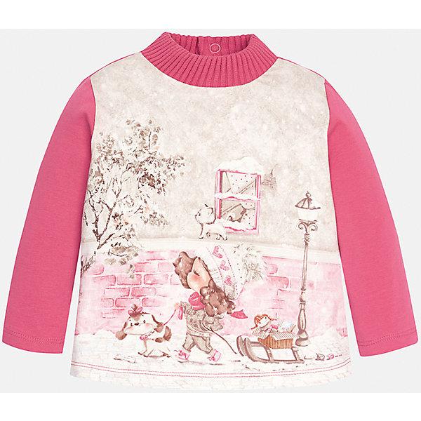 Футболка с длинным рукавом для девочки MayoralФутболки с длинным рукавом<br>Футболка для девочки от известного испанского бренда Mayoral (Майорал). Эта модная и удобная футболка с длинным рукавом сочетает в себе стиль и простоту. Приятный розовый цвет и зимний фото-принт с девочкой придут по вкусу вашей моднице. У футболки свободный крой, слегка расширяющийся к низу. Утепленная горловина защитит от холода. Футболка застегивается сзади на три кнопочки. Отличное пополнение для сезона осень-зима. К этой футболке подойдут как классические юбки и брюки, так и джинсы или штаны спортивного кроя. <br><br>Дополнительная информация:<br><br>- Силуэт: расширяющийся к низу<br>- Рукав: укороченный<br>- Длина: средняя<br><br>Состав: 92% хлопок, 8% эластан<br><br>Футболку для девочки Mayoral (Майорал) можно купить в нашем интернет-магазине.<br><br>Подробнее:<br>• Для детей в возрасте: от 4 до 9 лет<br>• Номер товара: 4846009<br>Страна производитель: Индия<br><br>Ширина мм: 199<br>Глубина мм: 10<br>Высота мм: 161<br>Вес г: 151<br>Цвет: красный<br>Возраст от месяцев: 6<br>Возраст до месяцев: 9<br>Пол: Женский<br>Возраст: Детский<br>Размер: 74,80,92,86<br>SKU: 4846009