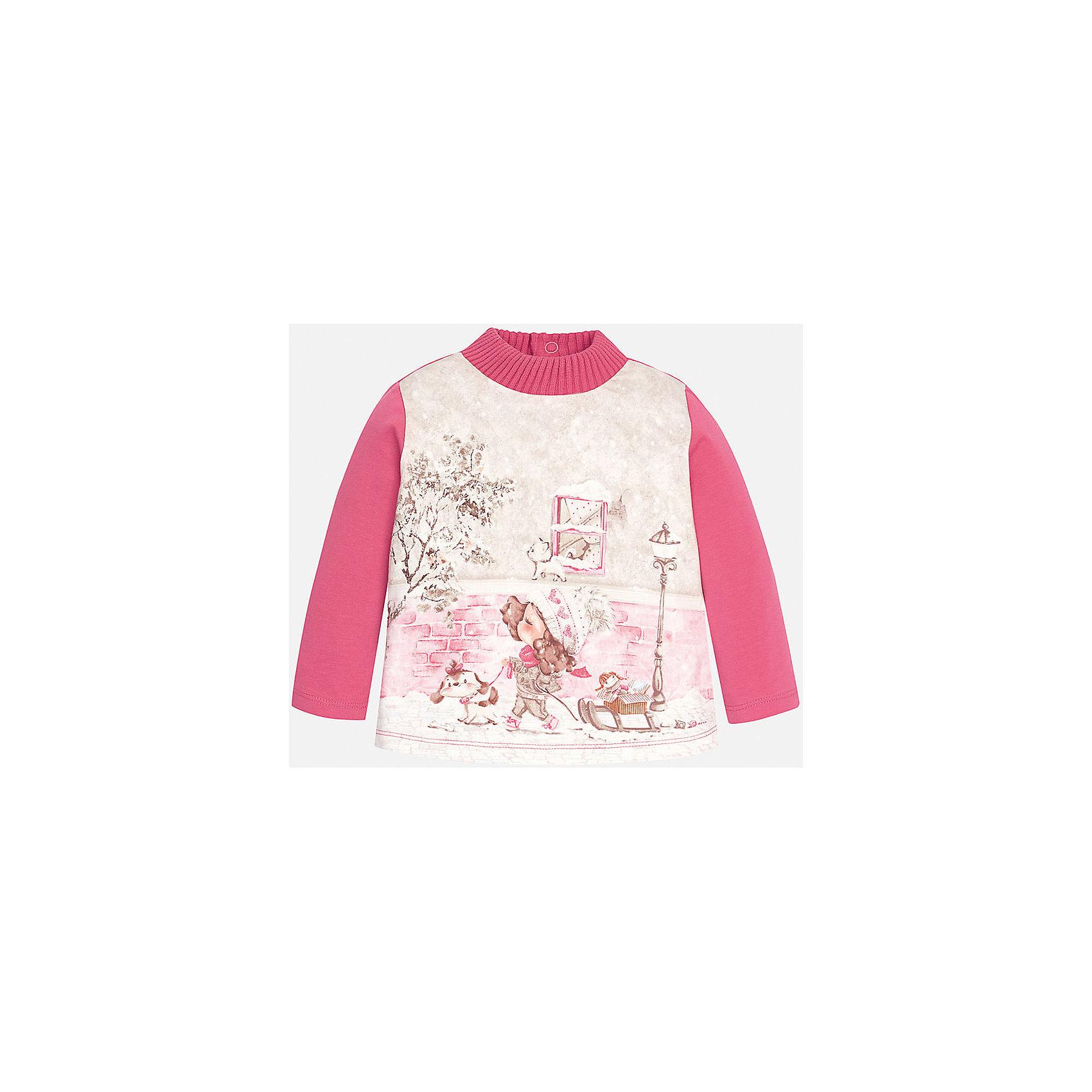 Футболка для девочки MayoralФутболка для девочки от известного испанского бренда Mayoral (Майорал). Эта модная и удобная футболка с длинным рукавом сочетает в себе стиль и простоту. Приятный розовый цвет и зимний фото-принт с девочкой придут по вкусу вашей моднице. У футболки свободный крой, слегка расширяющийся к низу. Утепленная горловина защитит от холода. Футболка застегивается сзади на три кнопочки. Отличное пополнение для сезона осень-зима. К этой футболке подойдут как классические юбки и брюки, так и джинсы или штаны спортивного кроя. <br><br>Дополнительная информация:<br><br>- Силуэт: расширяющийся к низу<br>- Рукав: укороченный<br>- Длина: средняя<br><br>Состав: 92% хлопок, 8% эластан<br><br>Футболку для девочки Mayoral (Майорал) можно купить в нашем интернет-магазине.<br><br>Подробнее:<br>• Для детей в возрасте: от 4 до 9 лет<br>• Номер товара: 4846009<br>Страна производитель: Индия<br><br>Ширина мм: 199<br>Глубина мм: 10<br>Высота мм: 161<br>Вес г: 151<br>Цвет: красный<br>Возраст от месяцев: 6<br>Возраст до месяцев: 9<br>Пол: Женский<br>Возраст: Детский<br>Размер: 74,80,86,92<br>SKU: 4846009
