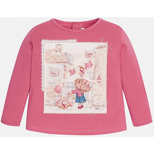 Футболка с длинным рукавом для девочки MayoralКофточки и распашонки<br>Футболка для девочки от известного испанского бренда Mayoral (Майорал). Эта модная и удобная футболка с длинным рукавом сочетает в себе стиль и простоту. Приятный насыщенный розовый цвет и нежный фото-принт с девочкой придут по вкусу вашей моднице. У футболки свободный крой, слегка расширяющийся к низу. Футболка застегивается сзади на две кнопочки. Отличное пополнение для сезона осень-зима. К этой футболке подойдут как классические юбки и брюки, так и джинсы или штаны спортивного кроя. <br><br>Дополнительная информация:<br><br>- Силуэт: расширяющийся к низу<br>- Рукав: укороченный<br>- Длина: средняя<br><br>Состав: 92% хлопок, 8% эластан<br><br>Футболку для девочки Mayoral (Майорал) можно купить в нашем интернет-магазине.<br><br>Подробнее:<br>• Для детей в возрасте: от 4 до 9 лет<br>• Номер товара: 4846019<br>Страна производитель: Индия<br><br>Ширина мм: 199<br>Глубина мм: 10<br>Высота мм: 161<br>Вес г: 151<br>Цвет: розовый<br>Возраст от месяцев: 6<br>Возраст до месяцев: 9<br>Пол: Женский<br>Возраст: Детский<br>Размер: 74,80,92,86<br>SKU: 4846019