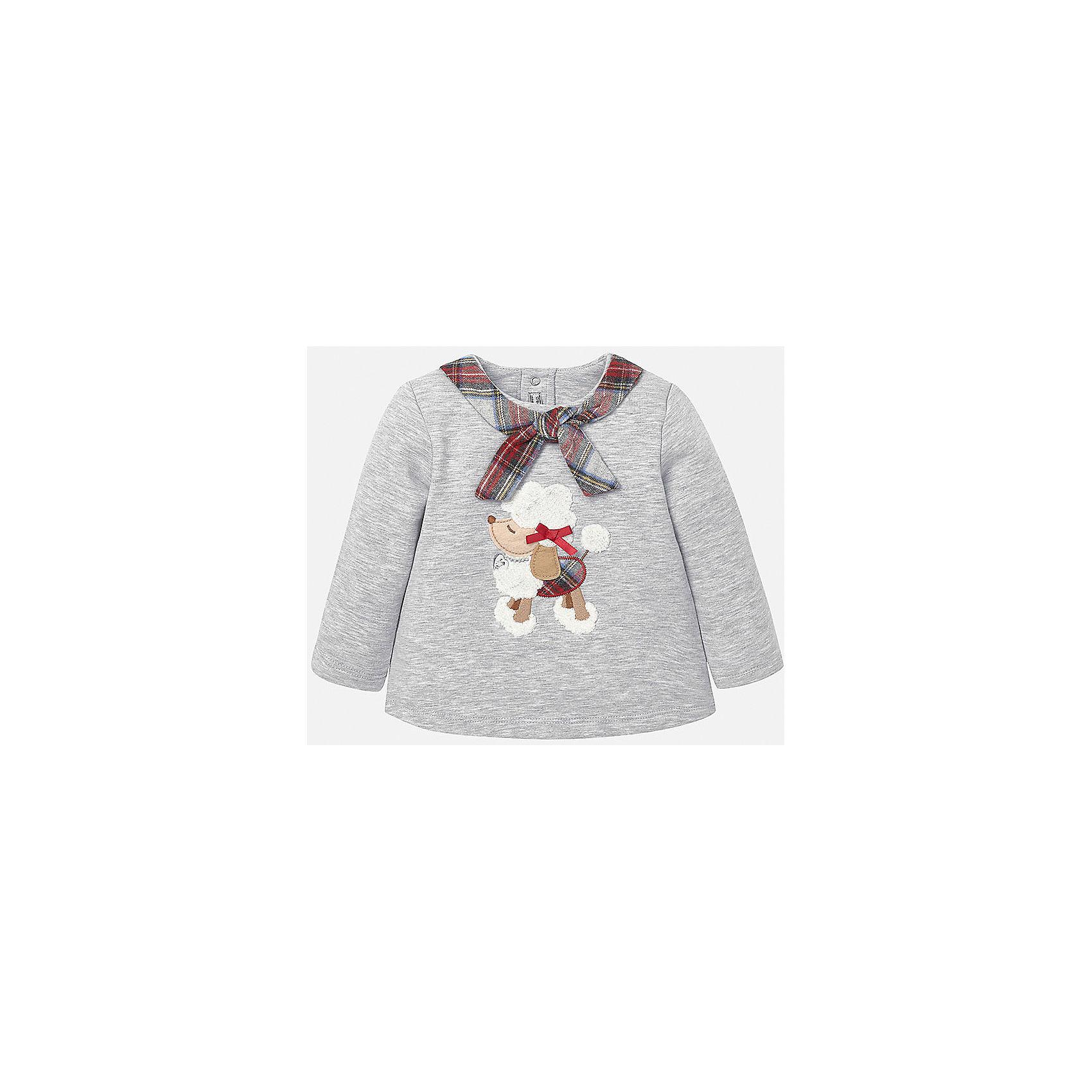 Свитер для девочки MayoralКрасивый и нарядный свитер для маленьких модниц с изображением очаровательной  собачки, которая  так всем понравиться. Свитер удачно дополнит любой предмет гардероба Вашей девочки.<br><br>Дополнительная информация: <br><br>- цвет: серый<br>- состав: хлопок57%, полиэстер 38%; эластан : 5%<br>- фактура материала: текстильный<br>- тип карманов: без карманов<br>- уход за вещами: бережная стирка при 30 градусах<br>- рисунок: без рисункоа<br>- назначение: повседневная<br>- сезон: круглогодичный<br>- пол: девочки<br>- страна бренда: Испания<br>- комплектация: свитер<br><br>Свитер для девочки торговой марки Mayoral можно купить в нашем интернет-магазине.<br><br>Ширина мм: 190<br>Глубина мм: 74<br>Высота мм: 229<br>Вес г: 236<br>Цвет: белый<br>Возраст от месяцев: 6<br>Возраст до месяцев: 9<br>Пол: Женский<br>Возраст: Детский<br>Размер: 74,92,86,80<br>SKU: 4846059