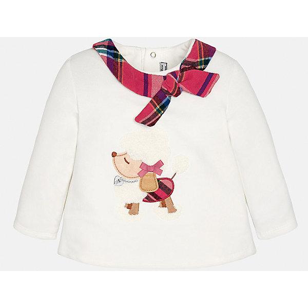 Толстовка для девочки MayoralТолстовки, свитера, кардиганы<br>Толстовка для девочки от известного испанского бренда Mayoral(Майорал) имеет длинные рукава и расширенный к низу силуэт. Модель застегивается на кнопки сзади. Спереди украшен аппликацией и декоративным шарфиком с бантом вокруг ворота. Эта стильная толстовка обязательно должен быть в гардеробе любой модницы!<br><br>Дополнительная информация:<br>Состав: 57% хлопок, 38% полиэстер, 5% эластан<br>Цвет: белый<br>Вы можете купить толстовку для девочки Mayoral(Майорал) в нашем интернет-магазине.<br>Ширина мм: 190; Глубина мм: 74; Высота мм: 229; Вес г: 236; Цвет: бежевый; Возраст от месяцев: 6; Возраст до месяцев: 9; Пол: Женский; Возраст: Детский; Размер: 74,92,86,80; SKU: 4846064;