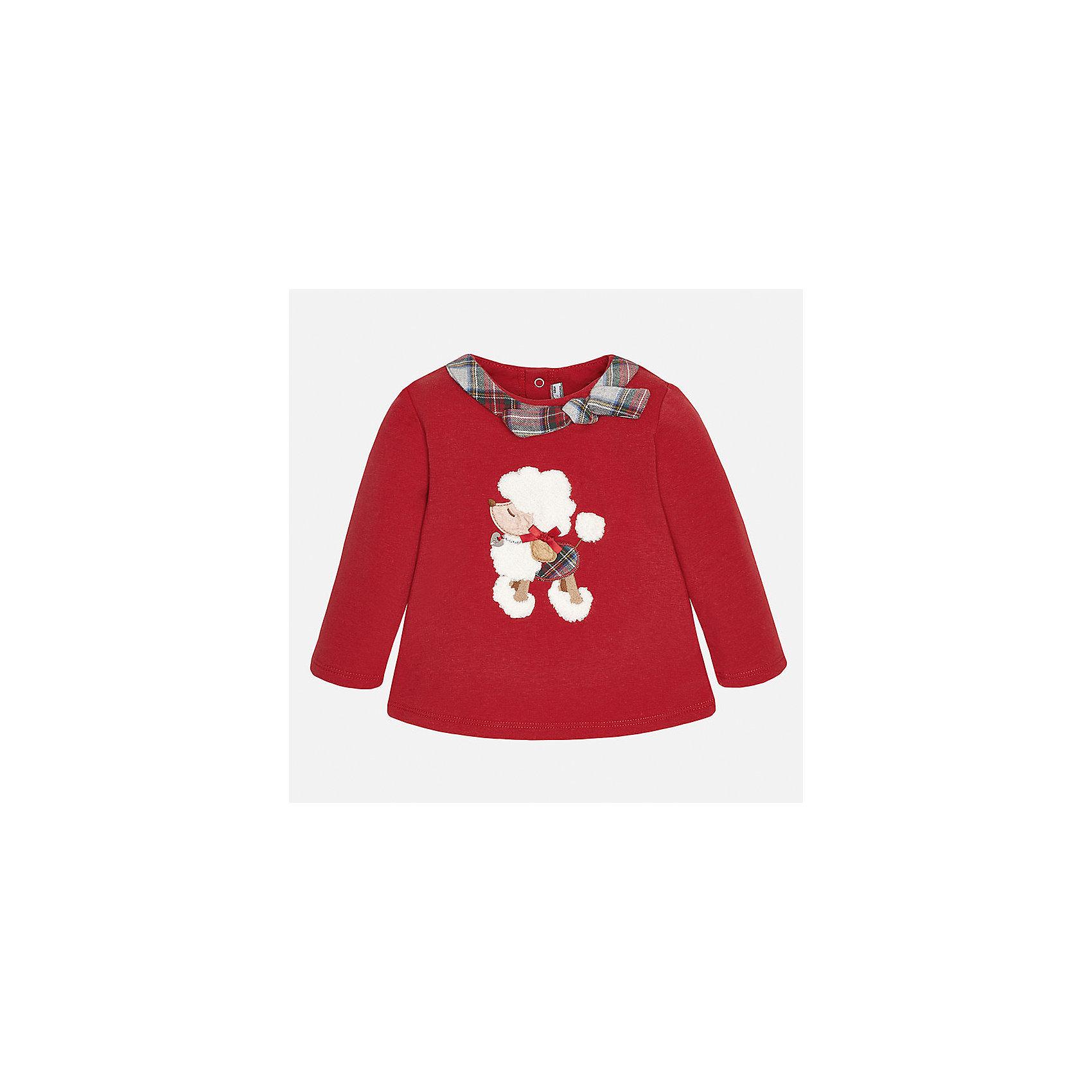 Свитер для девочки MayoralСвитер для девочки от известного испанского бренда Mayoral(Майорал) имеет длинные рукава и расширенный к низу силуэт. Модель застегивается на кнопки сзади. Спереди украшен аппликацией и декоративным шарфиком с бантом вокруг ворота. Этот стильный свитер обязательно должен быть в гардеробе любой модницы!<br><br>Дополнительная информация:<br>Состав: 57% хлопок, 38% полиэстер, 5% эластан<br>Цвет: красный<br>Вы можете купить свитер для девочки Mayoral(Майорал) в нашем интернет-магазине.<br><br>Ширина мм: 190<br>Глубина мм: 74<br>Высота мм: 229<br>Вес г: 236<br>Цвет: красный<br>Возраст от месяцев: 6<br>Возраст до месяцев: 9<br>Пол: Женский<br>Возраст: Детский<br>Размер: 74,86,80,92<br>SKU: 4846069