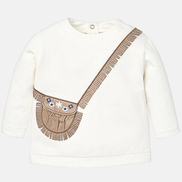 Толстовка для девочки MayoralТолстовки<br>Толстовка для девочки от известного испанского бренда Mayoral(майорал). Изготовлен из высококачественного хлопка, сзади застегивается на кнопки. Спереди свитер украшен аппликацией в виде сумочки с бахромой. Превосходный вариант для стильных девочек!<br><br>Дополнительная информация:<br>Состав: 92% хлопок, 8% эластан<br>Цвет: белый<br>Свитер для девочки Mayoral(майорал) можно приобрести в нашем интернет-магазине.<br><br>Ширина мм: 190<br>Глубина мм: 74<br>Высота мм: 229<br>Вес г: 236<br>Цвет: бежевый<br>Возраст от месяцев: 6<br>Возраст до месяцев: 9<br>Пол: Женский<br>Возраст: Детский<br>Размер: 74,92,86,80<br>SKU: 4846074