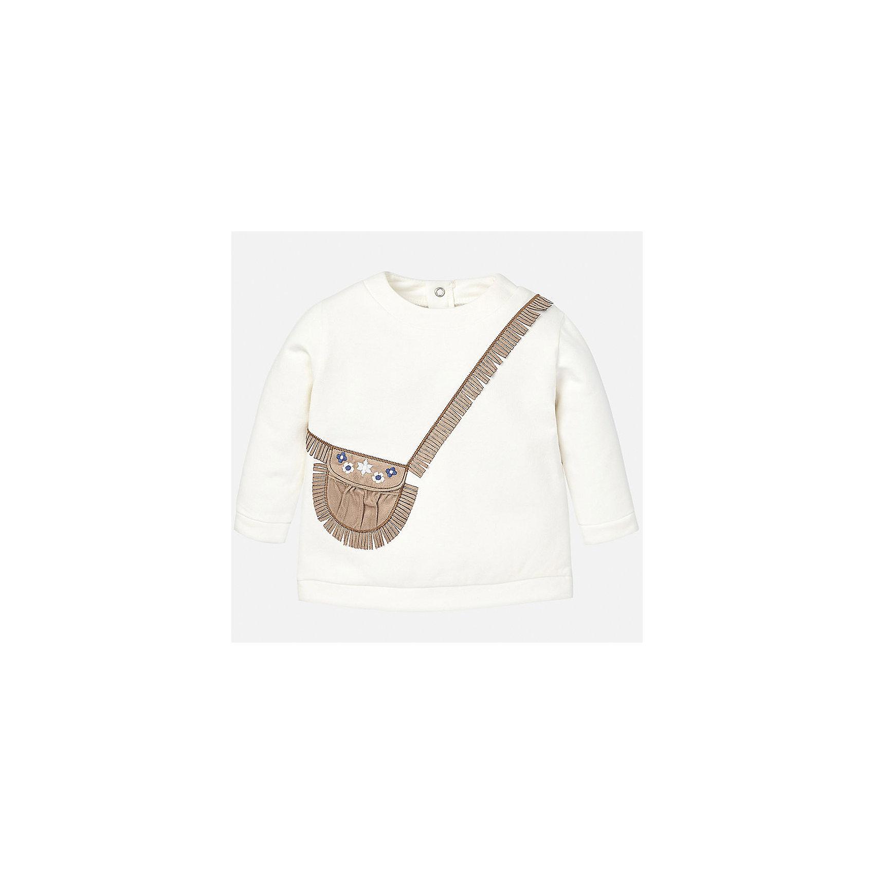 Толстовка для девочки MayoralТолстовки, свитера, кардиганы<br>Толстовка для девочки от известного испанского бренда Mayoral(майорал). Изготовлен из высококачественного хлопка, сзади застегивается на кнопки. Спереди свитер украшен аппликацией в виде сумочки с бахромой. Превосходный вариант для стильных девочек!<br><br>Дополнительная информация:<br>Состав: 92% хлопок, 8% эластан<br>Цвет: белый<br>Свитер для девочки Mayoral(майорал) можно приобрести в нашем интернет-магазине.<br><br>Ширина мм: 190<br>Глубина мм: 74<br>Высота мм: 229<br>Вес г: 236<br>Цвет: бежевый<br>Возраст от месяцев: 12<br>Возраст до месяцев: 18<br>Пол: Женский<br>Возраст: Детский<br>Размер: 86,92,74,80<br>SKU: 4846074