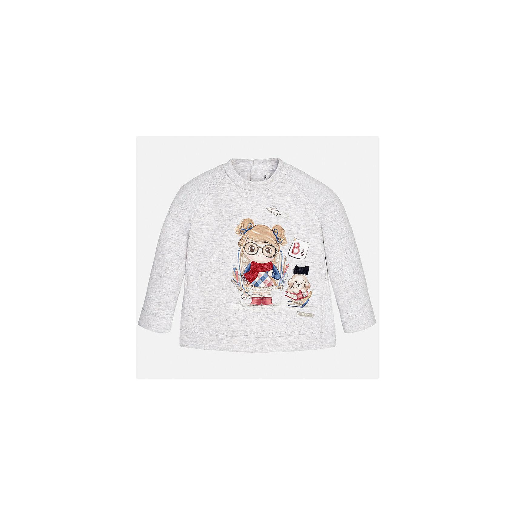 Толстовка для девочки MayoralТолстовки<br>Толстовка для девочки от известного испанского бренда Mayoral(Майорал)<br>Толстовка изготовлен из качественного хлопка, сзади застегивается на кнопки и украшен милым принтом с аппликацией. Этот свитер прекрасно впишется в гардероб девочки!<br><br>Дополнительная информация:<br>Состав: 95% хлопок, 5% эластан<br>Цвет: серый<br>Свитер для девочки Mayoral(Майорал) можно приобрести в нашем интернет-магазине.<br><br>Ширина мм: 190<br>Глубина мм: 74<br>Высота мм: 229<br>Вес г: 236<br>Цвет: белый<br>Возраст от месяцев: 18<br>Возраст до месяцев: 24<br>Пол: Женский<br>Возраст: Детский<br>Размер: 92,74,86,80<br>SKU: 4846084