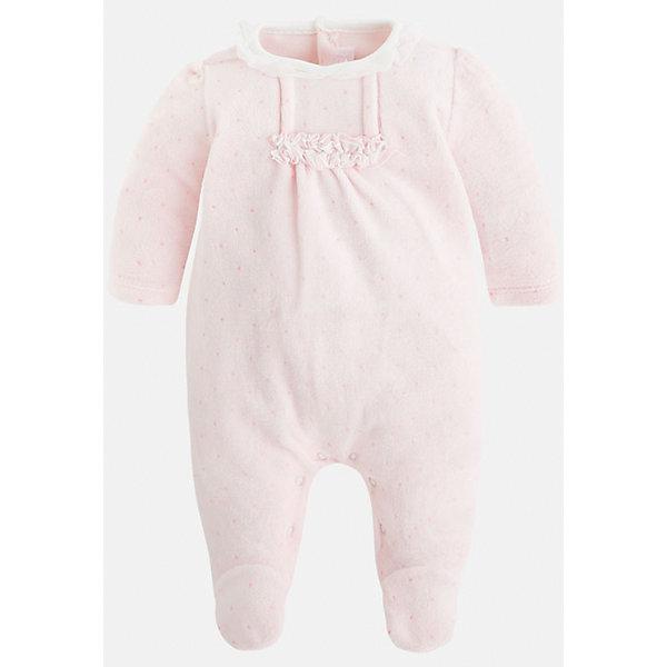 Пижама для девочки MayoralПижамы<br>Пижама для новорожденных девочек торговой марки    Майорал -Mayoral  <br>- само очарование! Бантик, рюши и цветочный принт для самых юных модниц. Кнопки-застежки внизу на ножках и на спинке, в пижаме закрытые ножки и открытые ручки.<br><br>Дополнительная информация: <br><br>- цвет:  розовый<br>- состав: хлопок 75%, полиэстер 25%<br>- длина рукава: длинные<br>- фактура материала: текстильный<br>- вид застежки: кнопки<br>- уход за вещами: бережная стирка при 30 градусах<br>- рисунок: без  рисунка<br>- назначение: повседневная<br>- сезон: круглогодичный<br>- пол: девочки<br>- страна бренда: Испания<br>- комплектация: пижама<br><br>Пижаму для девочки торговой марки    Майорал  можно купить в нашем интернет-магазине.<br><br>Ширина мм: 281<br>Глубина мм: 70<br>Высота мм: 188<br>Вес г: 295<br>Цвет: розовый<br>Возраст от месяцев: 24<br>Возраст до месяцев: 36<br>Пол: Женский<br>Возраст: Детский<br>Размер: 50,68,62,56<br>SKU: 4846109