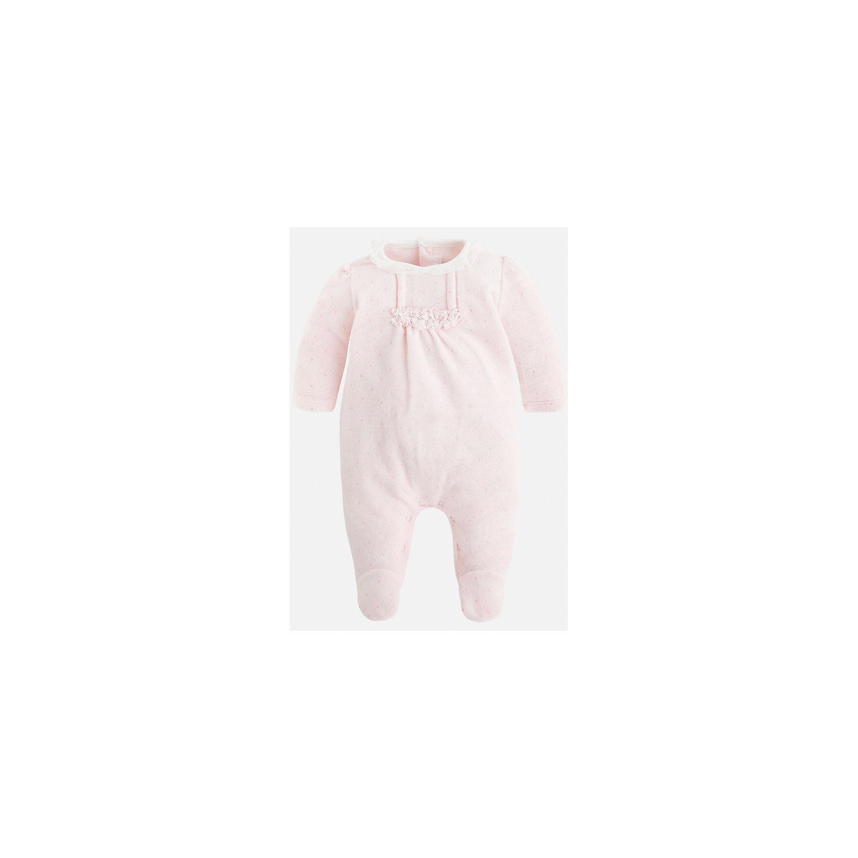 Пижама для девочки MayoralКомбинезоны<br>Пижама для новорожденных девочек торговой марки    Майорал -Mayoral  <br>- само очарование! Бантик, рюши и цветочный принт для самых юных модниц. Кнопки-застежки внизу на ножках и на спинке, в пижаме закрытые ножки и открытые ручки.<br><br>Дополнительная информация: <br><br>- цвет:  розовый<br>- состав: хлопок 75%, полиэстер 25%<br>- длина рукава: длинные<br>- фактура материала: текстильный<br>- вид застежки: кнопки<br>- уход за вещами: бережная стирка при 30 градусах<br>- рисунок: без  рисунка<br>- назначение: повседневная<br>- сезон: круглогодичный<br>- пол: девочки<br>- страна бренда: Испания<br>- комплектация: пижама<br><br>Пижаму для девочки торговой марки    Майорал  можно купить в нашем интернет-магазине.<br><br>Ширина мм: 281<br>Глубина мм: 70<br>Высота мм: 188<br>Вес г: 295<br>Цвет: розовый<br>Возраст от месяцев: 84<br>Возраст до месяцев: 96<br>Пол: Женский<br>Возраст: Детский<br>Размер: 56,62,68,50<br>SKU: 4846109