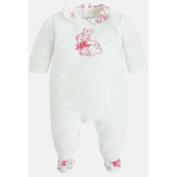 Пижама для девочки MayoralКомбинезоны<br>Красивая и уютная пижама для новорожденных от испанской торговой марки    Майорал -Mayoral . Застежки-кнопки по всей длине модели позволяют легко снимать и одевать пижаму. Спереди небольшая вышивка зайчонка. У пижамы закрытые ножки и открытые ручки.<br><br>Дополнительная информация: <br><br>- цвет:  розовый<br>- состав: хлопок 80%, полиэстер 20%<br>- длина рукава: длинные<br>- фактура материала: текстильный<br>- вид застежки: кнопки<br>- уход за вещами: бережная стирка при 30 градусах<br>- рисунок: без  рисунка<br>- назначение: повседневная<br>- сезон: круглогодичный<br>- пол: девочки<br>- страна бренда: Испания<br>- комплектация: пижама<br><br>Пижаму для девочки торговой марки    Майорал  можно купить в нашем интернет-магазине.<br><br>Ширина мм: 281<br>Глубина мм: 70<br>Высота мм: 188<br>Вес г: 295<br>Цвет: бежевый<br>Возраст от месяцев: 24<br>Возраст до месяцев: 36<br>Пол: Женский<br>Возраст: Детский<br>Размер: 50,68,56,62<br>SKU: 4846129