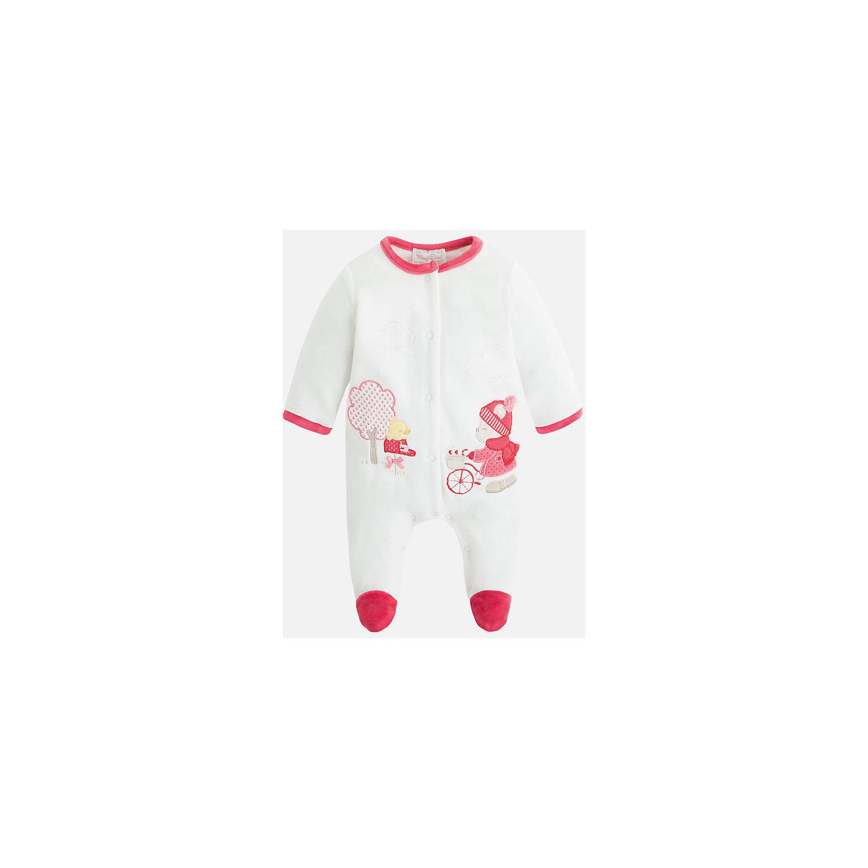 Пижама для девочки MayoralКомбинезоны<br>Комбинезон-пижама торговой марки    Майорал -Mayoral  для малышки до года. Закрытые ножки, открытые  рукава, симпатичный принт Мишки спереди. Застежка на кнопки.<br><br>Дополнительная информация: <br><br>- цвет:  розовый<br>- состав: хлопок 80%, полиэстер 20%<br>- длина рукава: длинные<br>- фактура материала: текстильный<br>- вид застежки: кнопки<br>- уход за вещами: бережная стирка при 30 градусах<br>- рисунок: без  рисунка<br>- назначение: повседневная<br>- сезон: круглогодичный<br>- пол: девочки<br>- страна бренда: Испания<br>- комплектация: пижама<br><br>Пижаму для девочки торговой марки    Майорал  можно купить в нашем интернет-магазине.<br><br>Ширина мм: 281<br>Глубина мм: 70<br>Высота мм: 188<br>Вес г: 295<br>Цвет: красный<br>Возраст от месяцев: 24<br>Возраст до месяцев: 36<br>Пол: Женский<br>Возраст: Детский<br>Размер: 50,68,56,62<br>SKU: 4846134