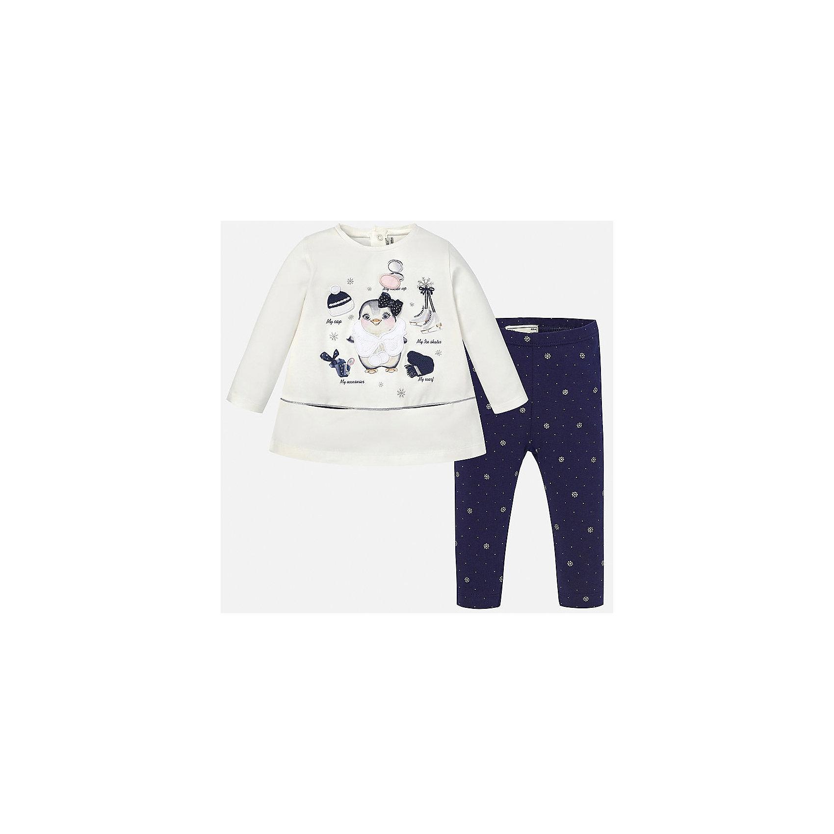 Комплект:футболка и леггинсы для девочки MayoralОчень красивый комплект от испанского Майорал-Mayoral доставит ребенку много приятных минут. Качественные ткани, безупречное исполнение. Данная модель в центре модных тенденции. Комплект состоит из модной футболки с длинными рукавами и практичных леггинсов темно-синего цвета. Мягкий лонгслив украшен изображением милого пингвинчика зимой. Эластичные леггинсы украшены маленкими снежинками и точками, дополнены удобной широкой резинкой на поясе. Займет достойное место в гардеробе Вашей девочки.<br><br>Дополнительная информация:<br><br>- вид застежки: без застежки <br>- цвет: синий, белый<br>- тип карманов: втачные <br>- параметры брючин: ширина брючин – низ: 9 см; по внутреннему шву ; 21 см<br>- фактура материала: текстильный<br>- покрой: прямой<br>- состав: 92% хлопка; 8% эластан<br>- длина  изделия: верх 38 см. низ 31 см<br>- уход за вещами: бережная стирка при 30 градусах<br>- рисунок: с  рисунком<br>- материал: трикотаж<br>- назначение: повседневная<br>- сезон: круглогодичный<br>- пол: девочки<br>- страна бренда: Испания<br>- страна производитель:  Индия<br>- комплектация: лонгслив, леггинсы <br><br>комплект торговой марки  Майорал-Mayoral можно купить в нашем интернет магазине.<br><br>Ширина мм: 123<br>Глубина мм: 10<br>Высота мм: 149<br>Вес г: 209<br>Цвет: синий<br>Возраст от месяцев: 6<br>Возраст до месяцев: 9<br>Пол: Женский<br>Возраст: Детский<br>Размер: 74,92,80,86<br>SKU: 4846149